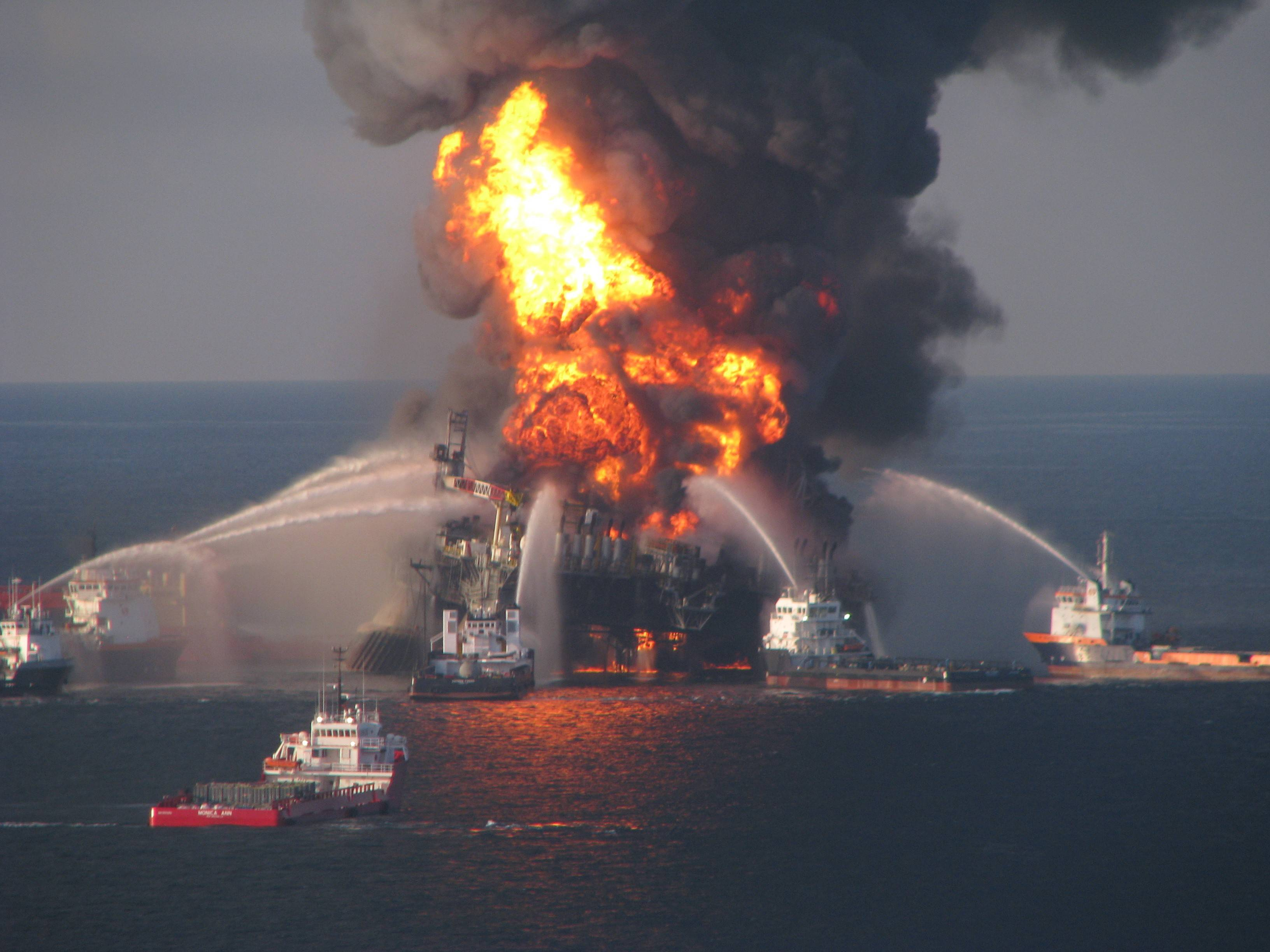 Crews battle the blazing remnants of the off shore oil rig Deepwater Horizon in 2010. BP PLC already has agreed to pay billions of dollars in criminal fines and compensation to people and businesses affected by the disaster. But U.S. District Judge Carl Barbier's ruling could nearly quadruple what the London-based company has to pay in civil fines for polluting the Gulf of Mexico during the 2010 spill.