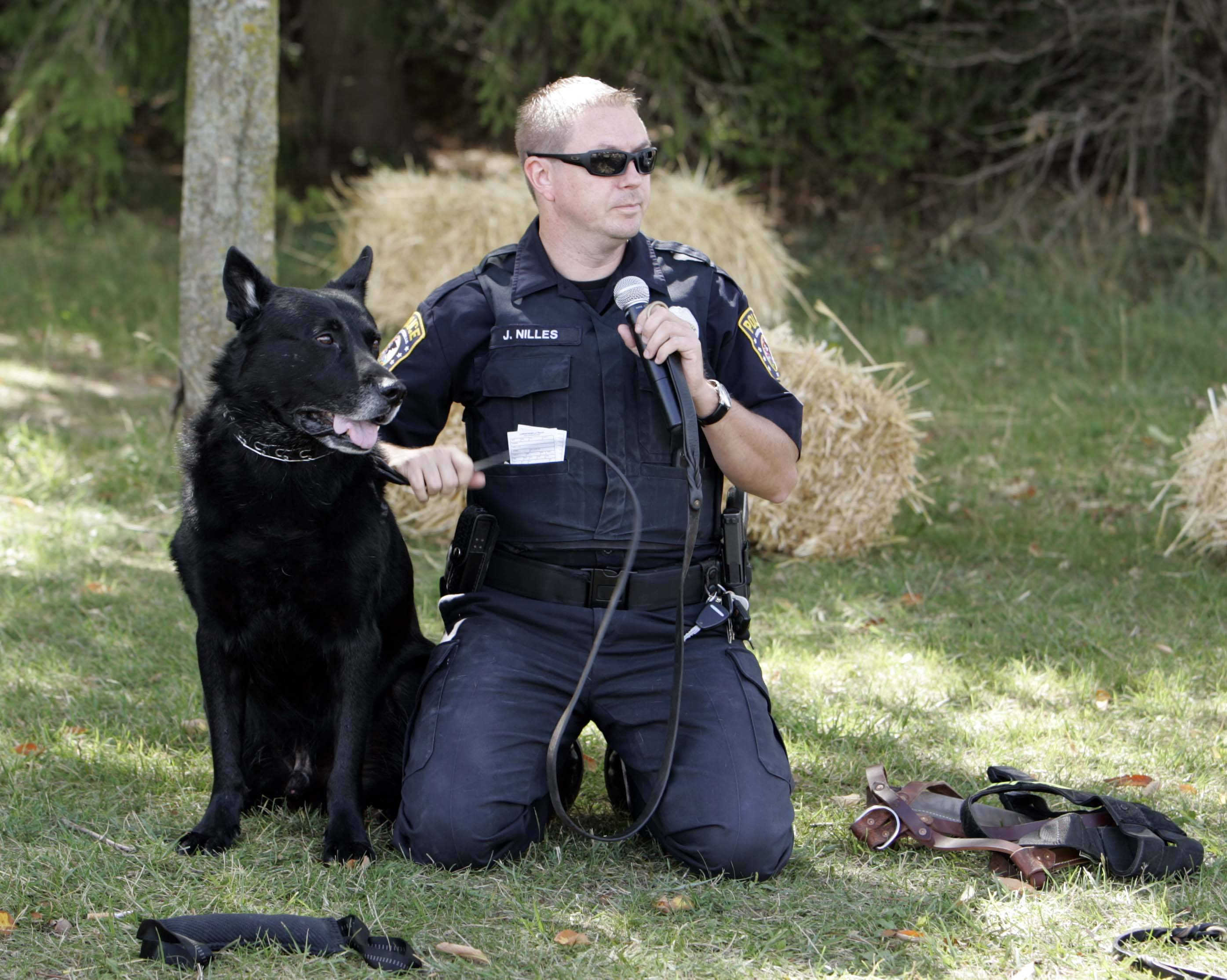Carpentersville Police Officer Jason Nilles explains how his dog Keeper performs at work during a previous Dog Days of Dundee event.