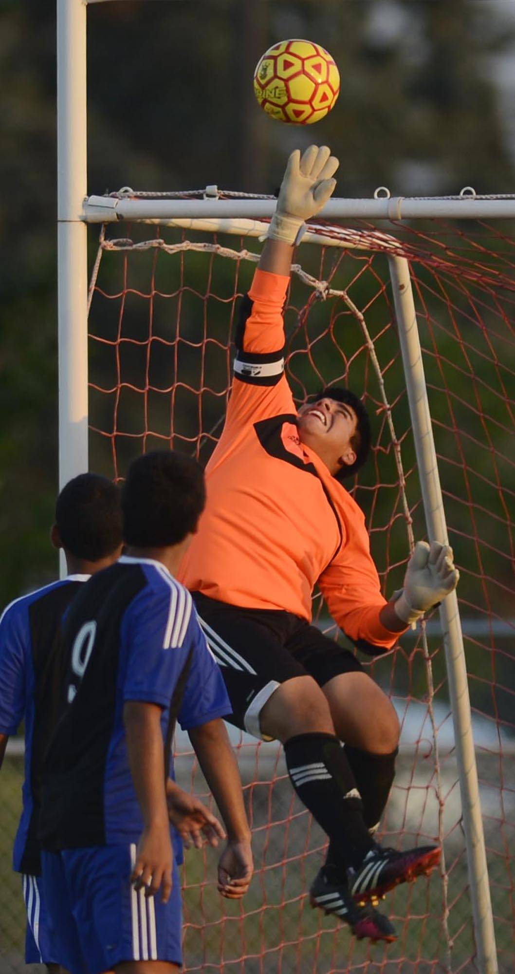 Batavia's Larkin goalkeeper Leo Perez makes a save on a corner kick Thursday in Batavia.