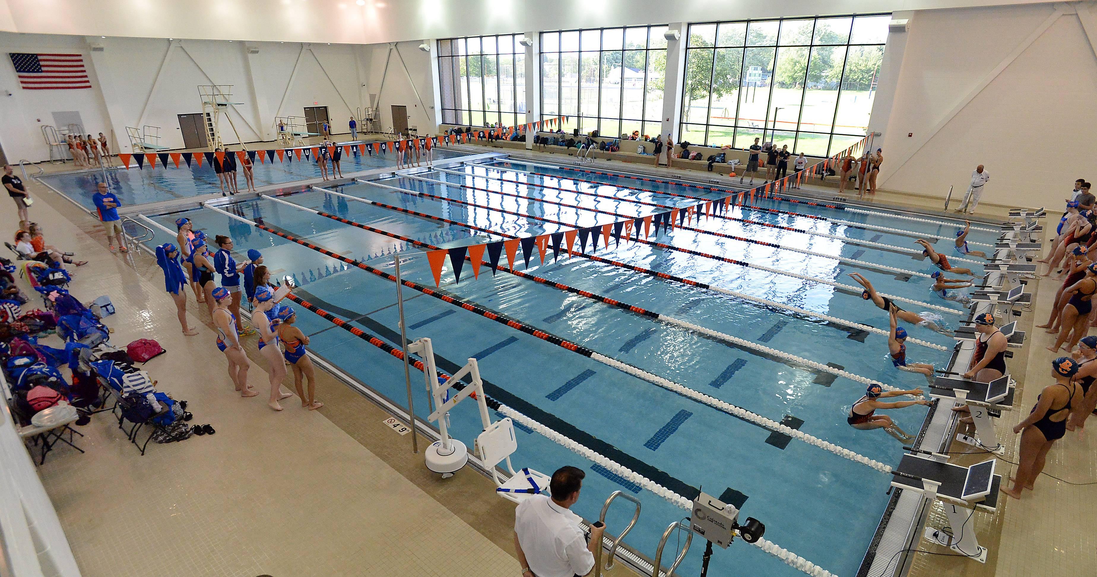 And they're off: The new pool at Buffalo Grove High School has its first race, the 200-yard JV medley relay.