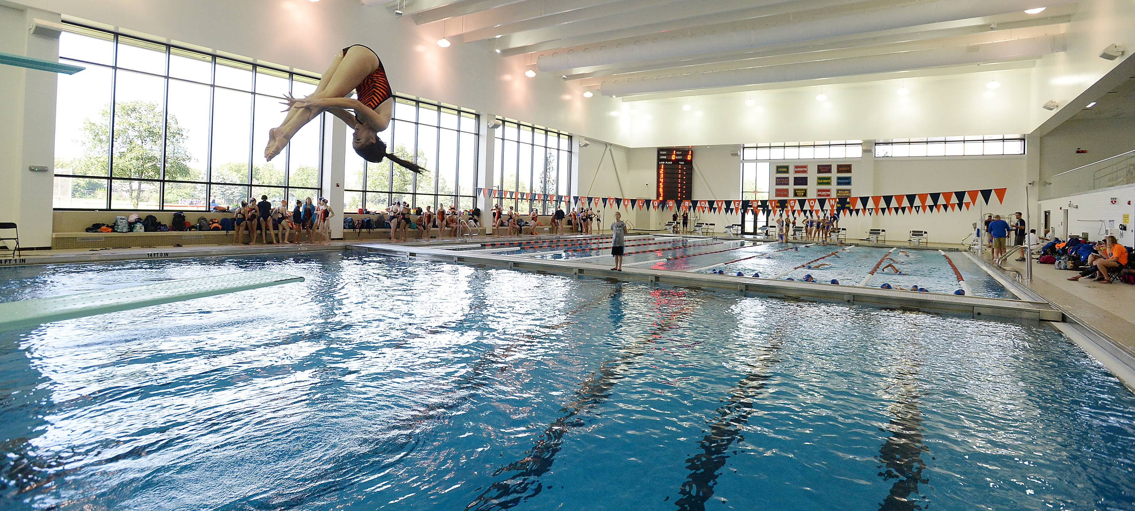 The new pool at Buffalo Grove High School got its first varsity action in a dual meet with Hoffman Estates on Thursday.