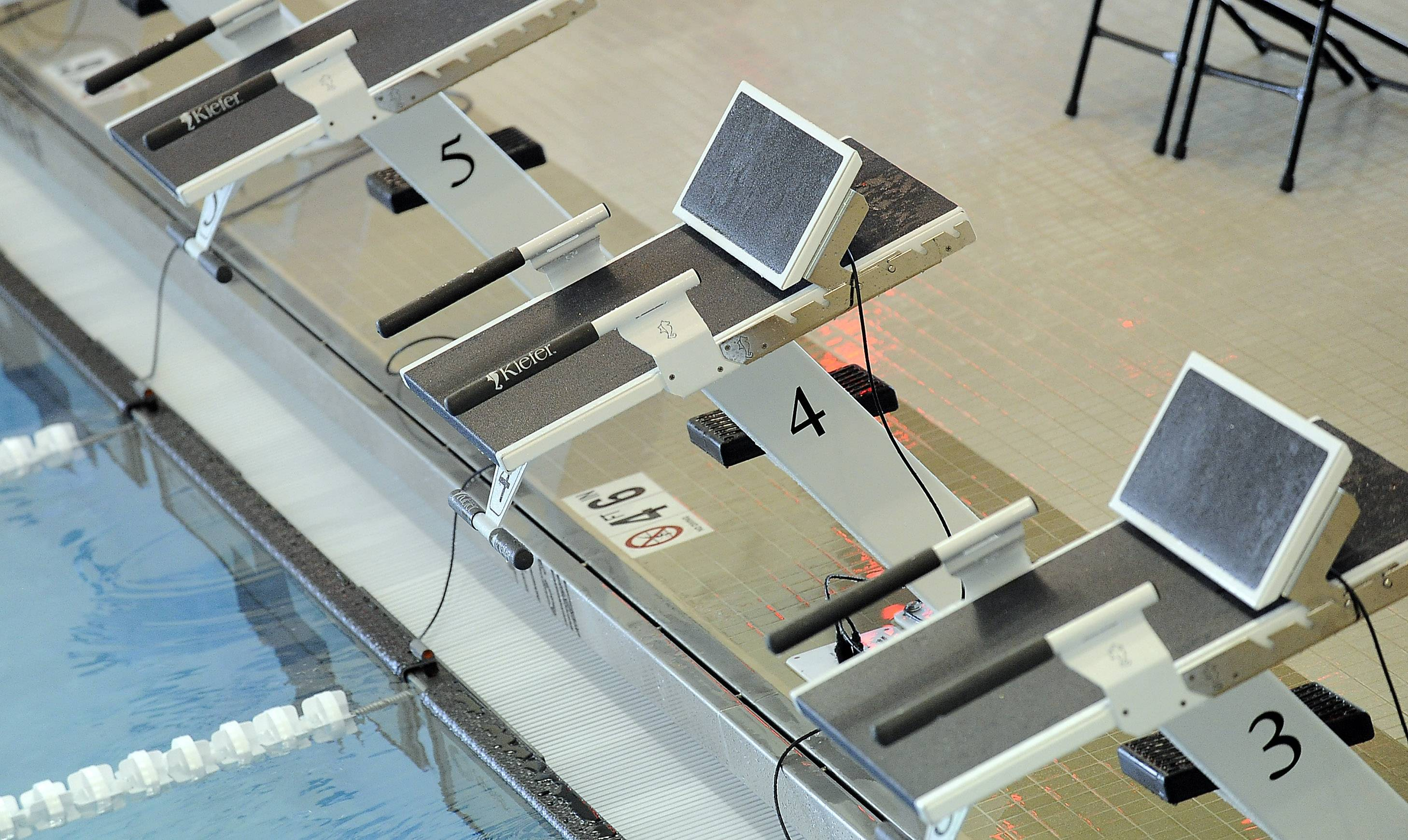 The new pool at Buffalo Grove High School has Kiefer starting blocks which allow for track-style starts.