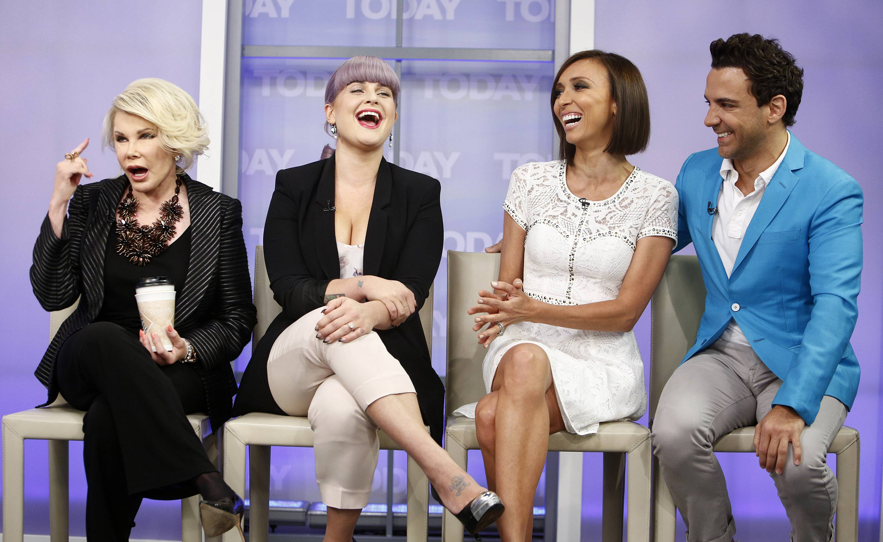"Joan Rivers, Kelly Osbourne, Giuliana Rancic and George Kotsiopoulos from the E! series ""Fashion Police."""