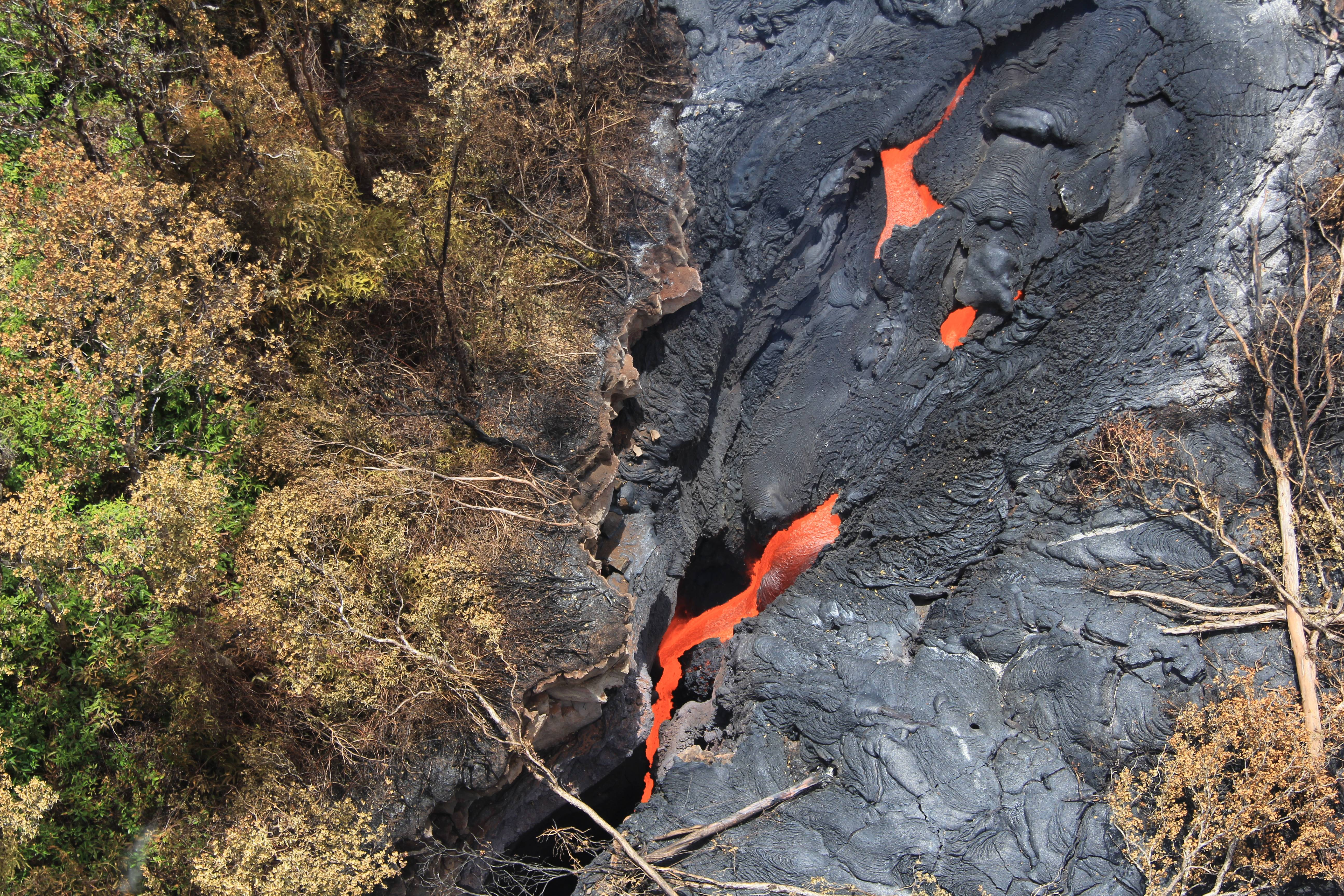 Fluid lava streams from the June 27 lava flow from the Kilauea volcano in Pahoa, Hawaii. The June 27 lava flow is named for the date it began erupting from a new vent. The Hawaiian Volcano Observatory issued a warning Thursday, Sept. 4, 2014 to a rural community in the path of a lava flow on Hawaii's Big Island, as the molten rock moved to within a mile of homes. Observatory scientists said lava from the Kilauea volcano could reach the Kaohe Homesteads in five to seven days if it continues advancing through cracks in the earth.