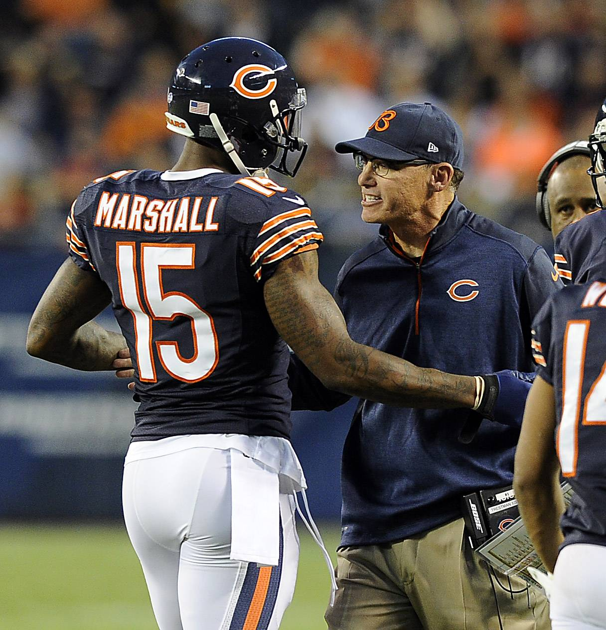 Bears coach Marc Trestman, talking with receiver Brandon Marshall after a preseason touchdown, will have to rely on some sort of luck if the season is going to be a success. All NFL teams do.
