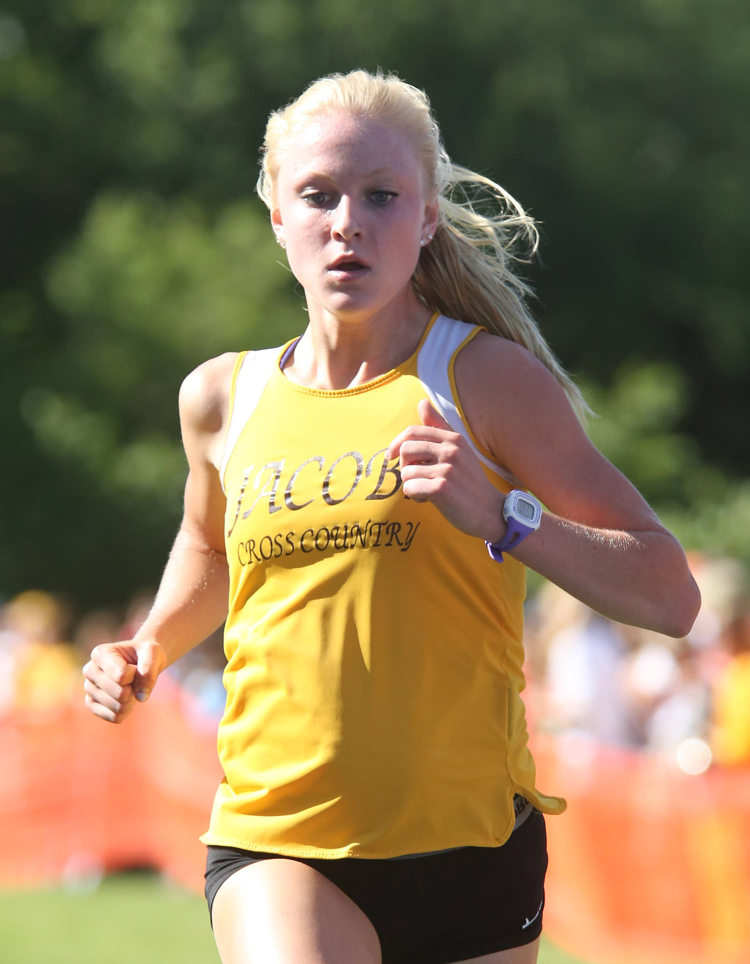 Jacobs' Lauren VanVlierbergen placed first, with a time of 17:06.5, at the St. Charles East boys and girls cross country invite at LeRoy Oaks on Saturday in St. Charles.