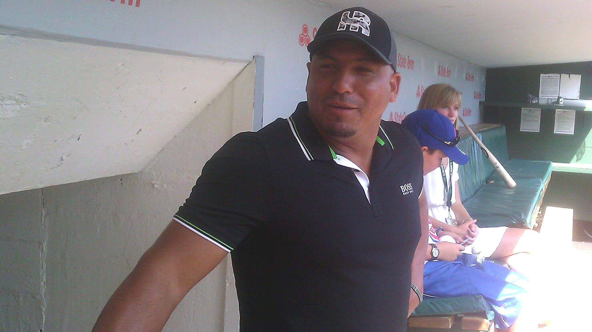 Former Cubs pitcher Carlos Zambrano visited his old team on Friday at Wrigley Field. Zambrano also was in town to take part in a charity softball game in Schaumburg on Saturday.