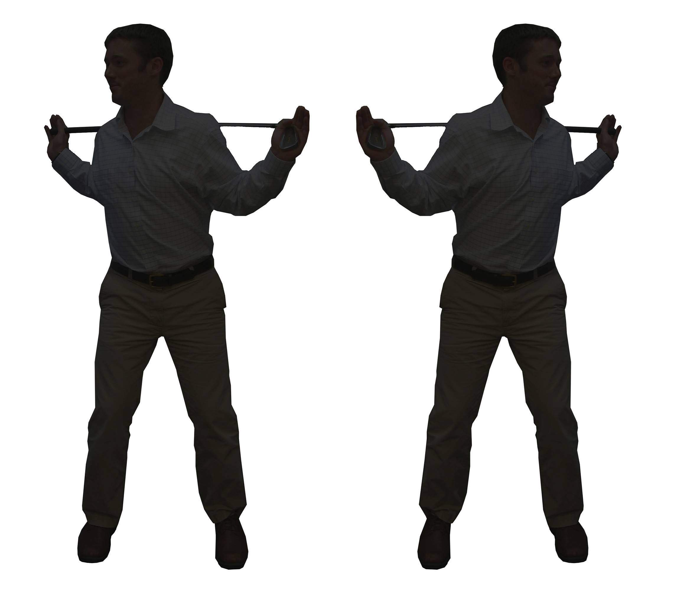 For shoulder rotation: With your hips square, hold the club behind your upper back. Rotate your shoulders until you feel your hips start to move, 10 times in each direction.