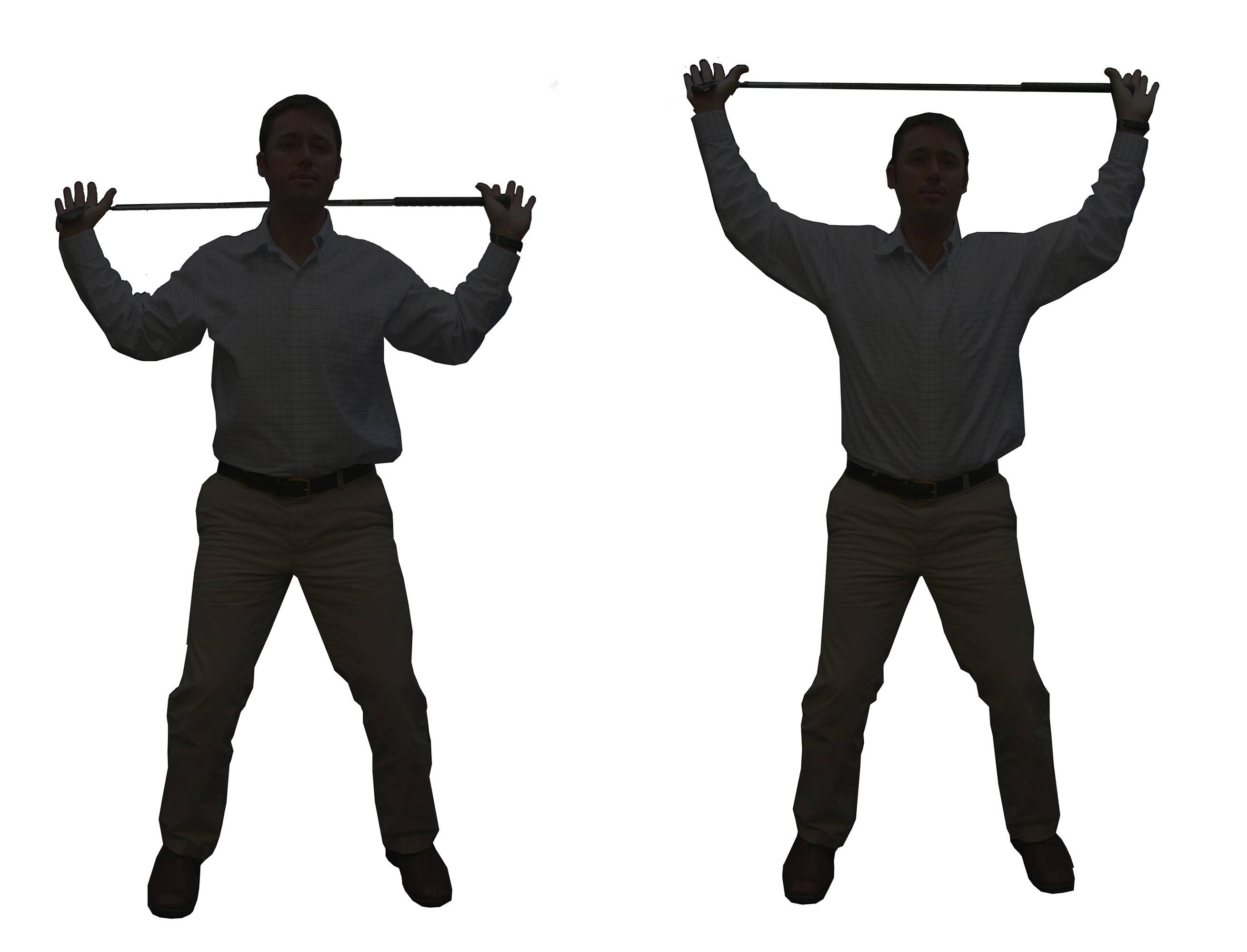 For your shoulders and swing posture: Place the club above your head with your elbows pointing down. Keeping your shoulders down, raise the club for three sets of 10.