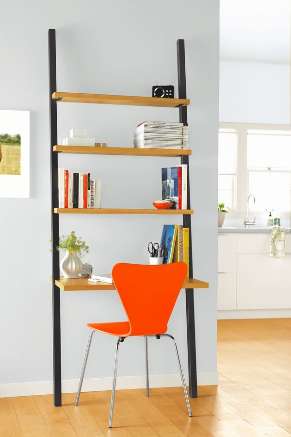 The Gallery Leaning Desk, $499, draws eyes to the ceiling and makes a room appear taller.