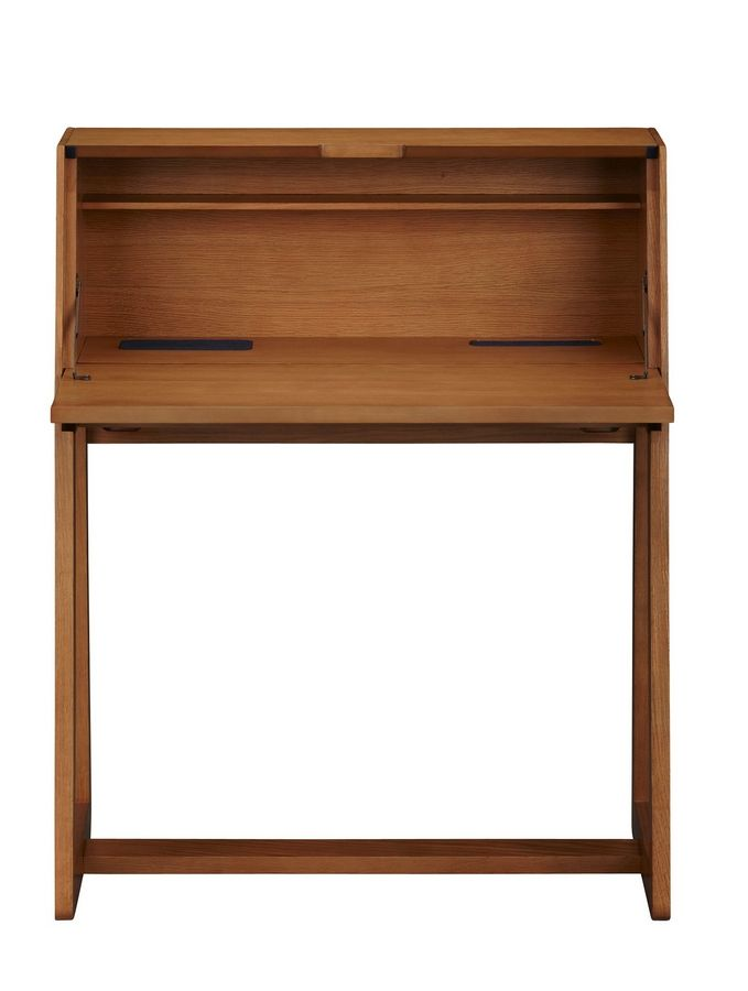 The top on CB2's Intimo Secretary desk, $399, closes to quickly conceal clutter.