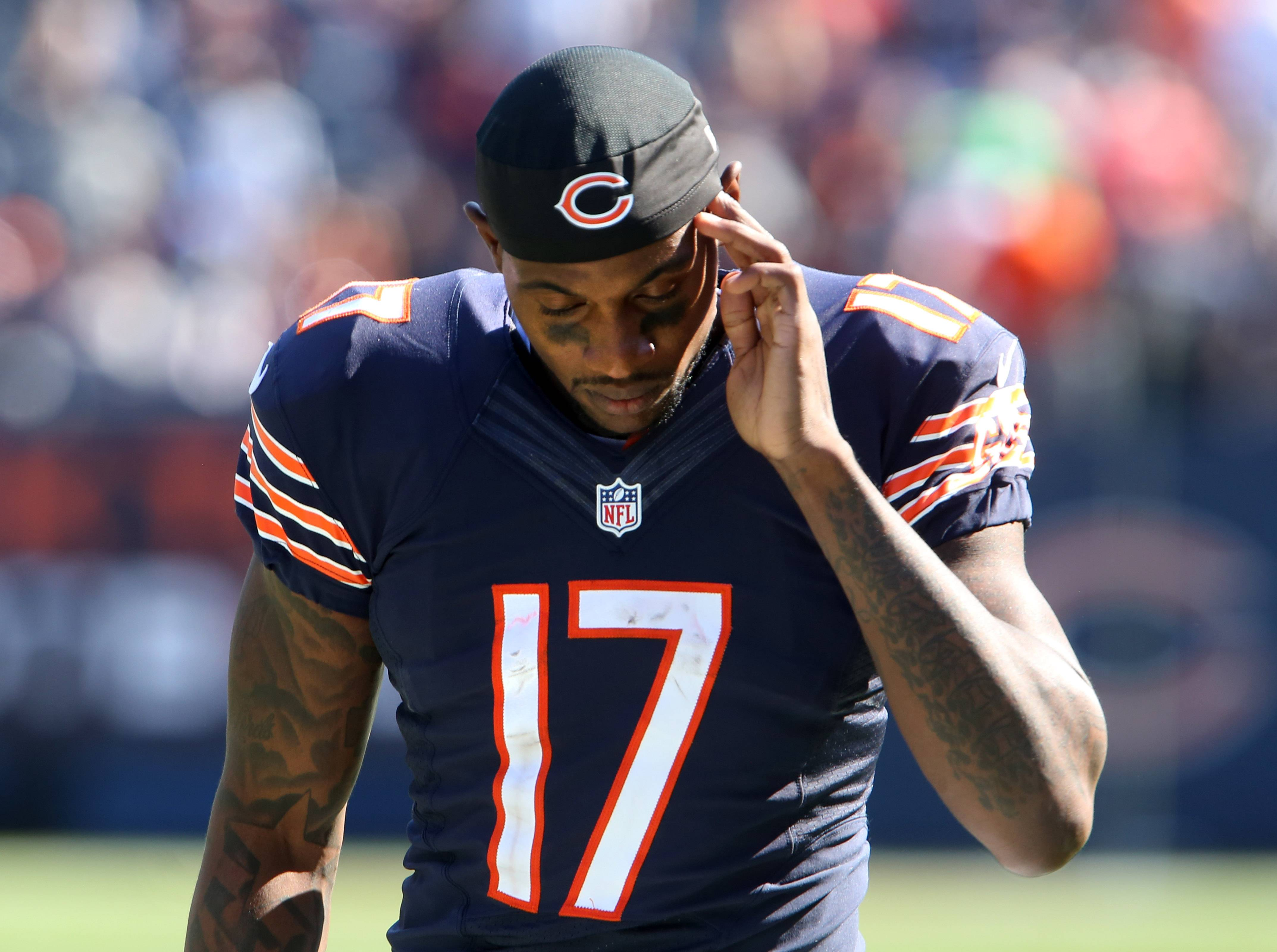 Chicago Bears wide receiver Alshon Jeffery walks off the field after the Bears lose to Buffalo Bills 23-20 at Soldier Field on Sunday.