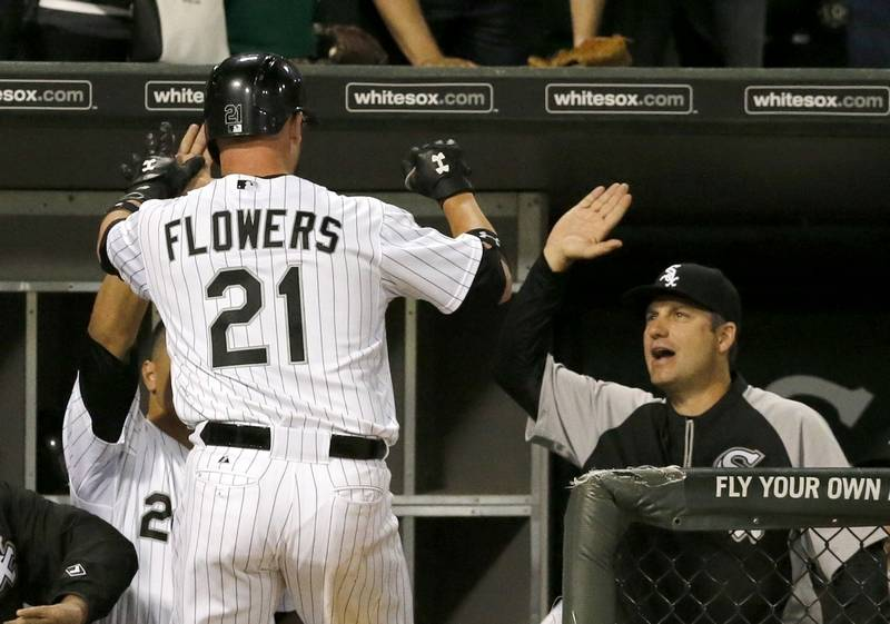 Flowers 2 home runs carry sox over as white sox catcher tyler flowers celebrates his game tying home run with avisail garcia mightylinksfo