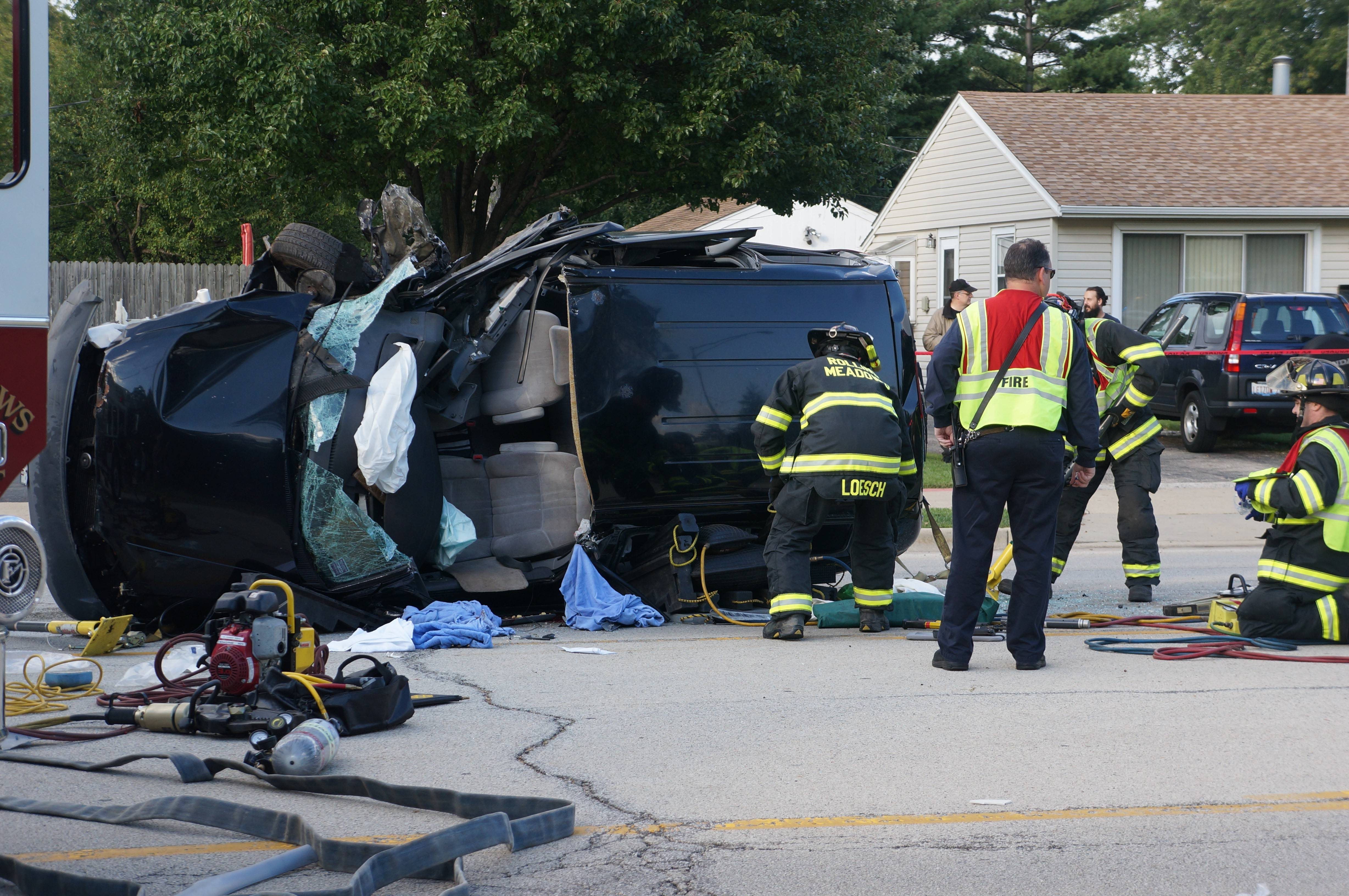 Traffic was rerouted away from this rollover crash Saturday in Rolling Meadows.