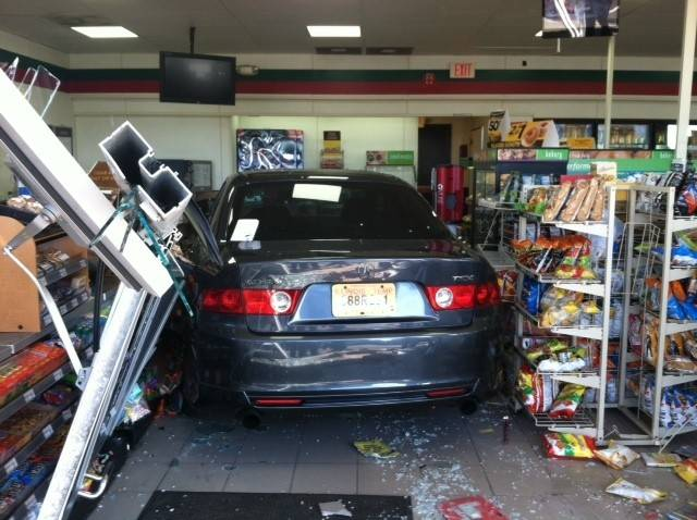 Junior A. Espinal, 32, of Lombard is accused of crashing his 2004 Acura through a 7-Eleven located at Butterfield Road and Lloyd Avenue.