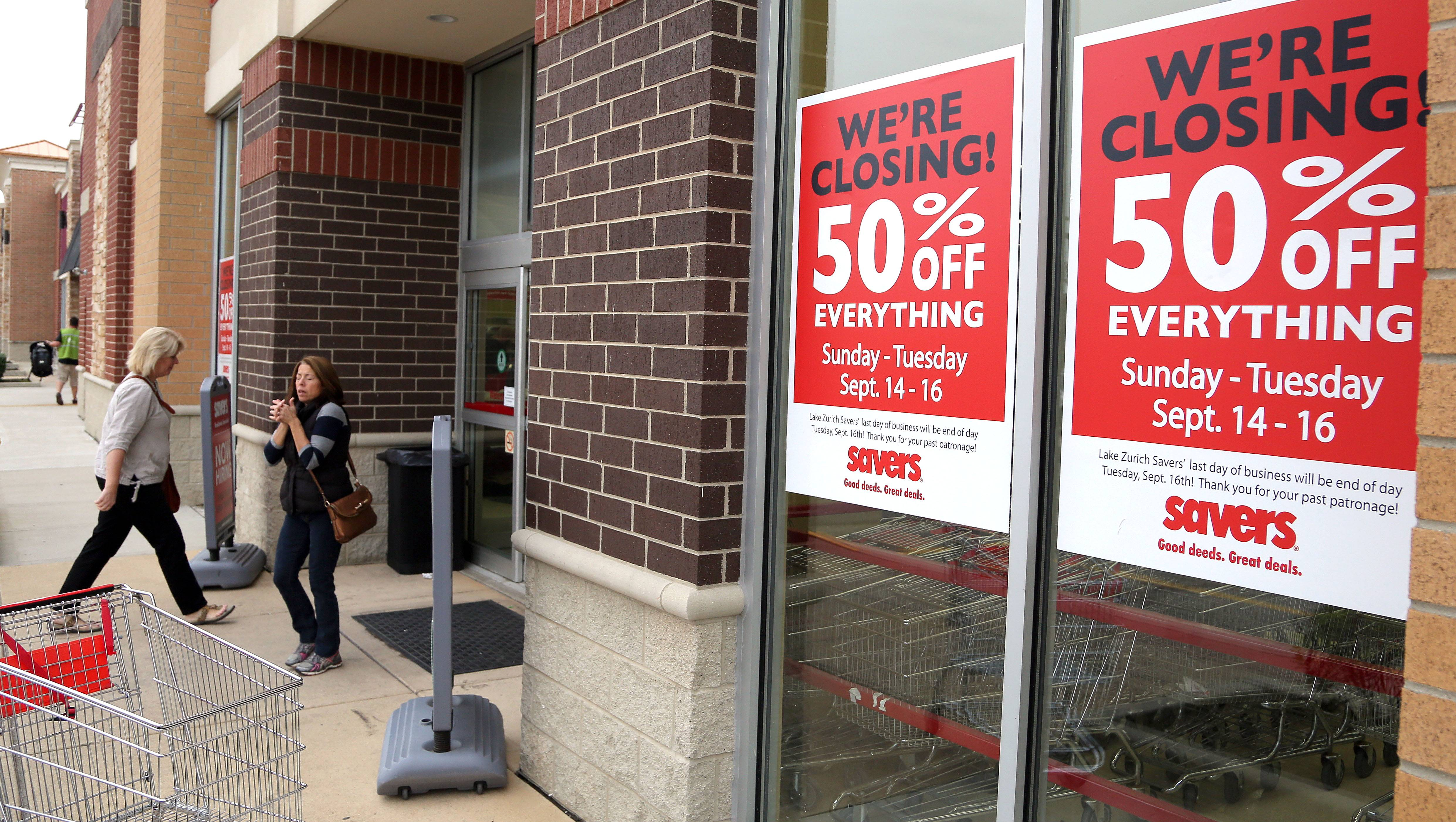 The Savers thrift store in Lake Zurich will close Tuesday, along with the chain's store in St. Charles. Other Savers in the suburbs, including locations in Arlington Heights and Naperville, will remain open, and a new store is holding a grand opening this week in Glenview.