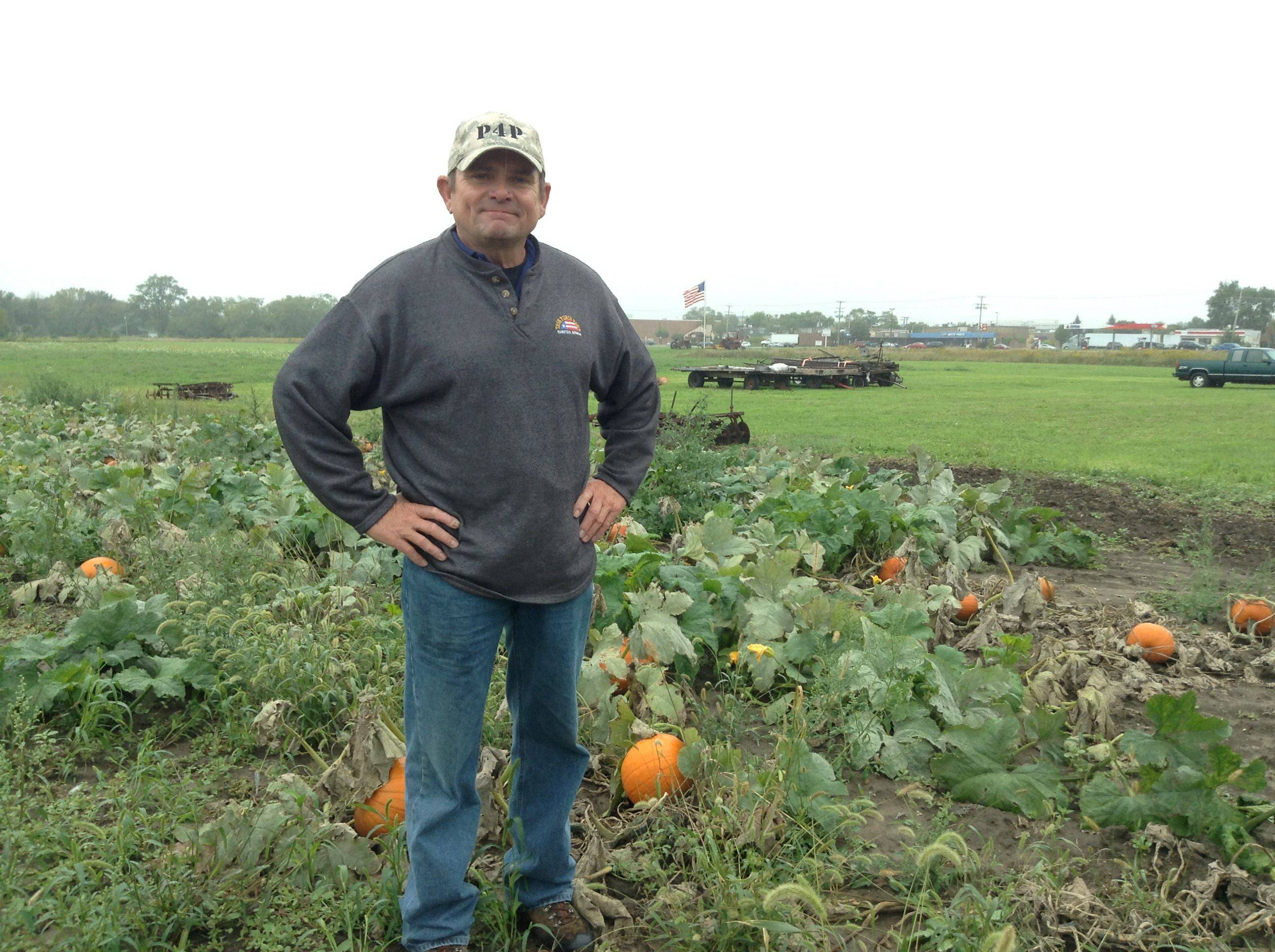 With a newly erected U.S. flag flying behind him, Pizza 4 Patriots founder Mark Evans stands in the pumpkin patch on the farm of Tim Busse in Elk Grove Village. Their Pumpkins 4 Patriots project gives pumpkins to veteran agencies and other charities.