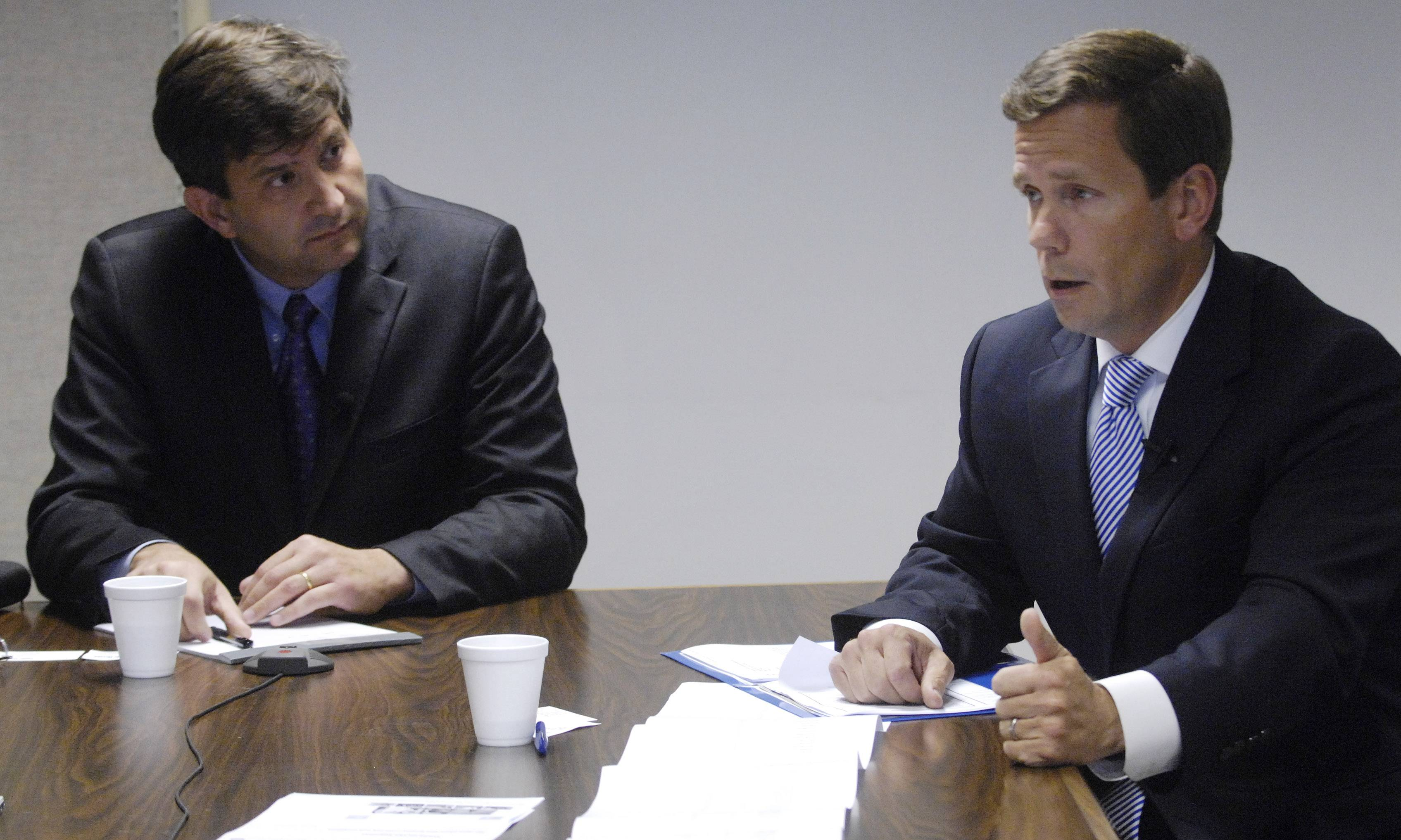 Democratic U.S. Rep. Brad Schneider, left, and Republican challenger Robert Dold are running in the 10th Congressional District. They appeared together at the Daily Herald's offices in 2012.