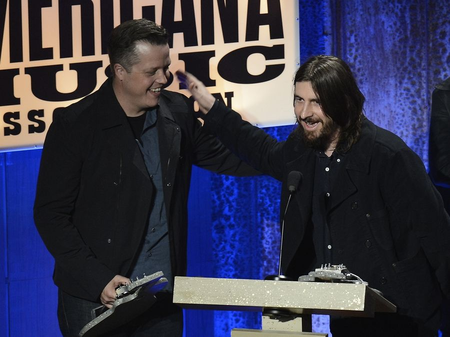Jason Isbell thanks Dave Cobb after accepting the Album of the Year Award during the Americana Music Honors and Awards show Wednesday in Nashville, Tenn.