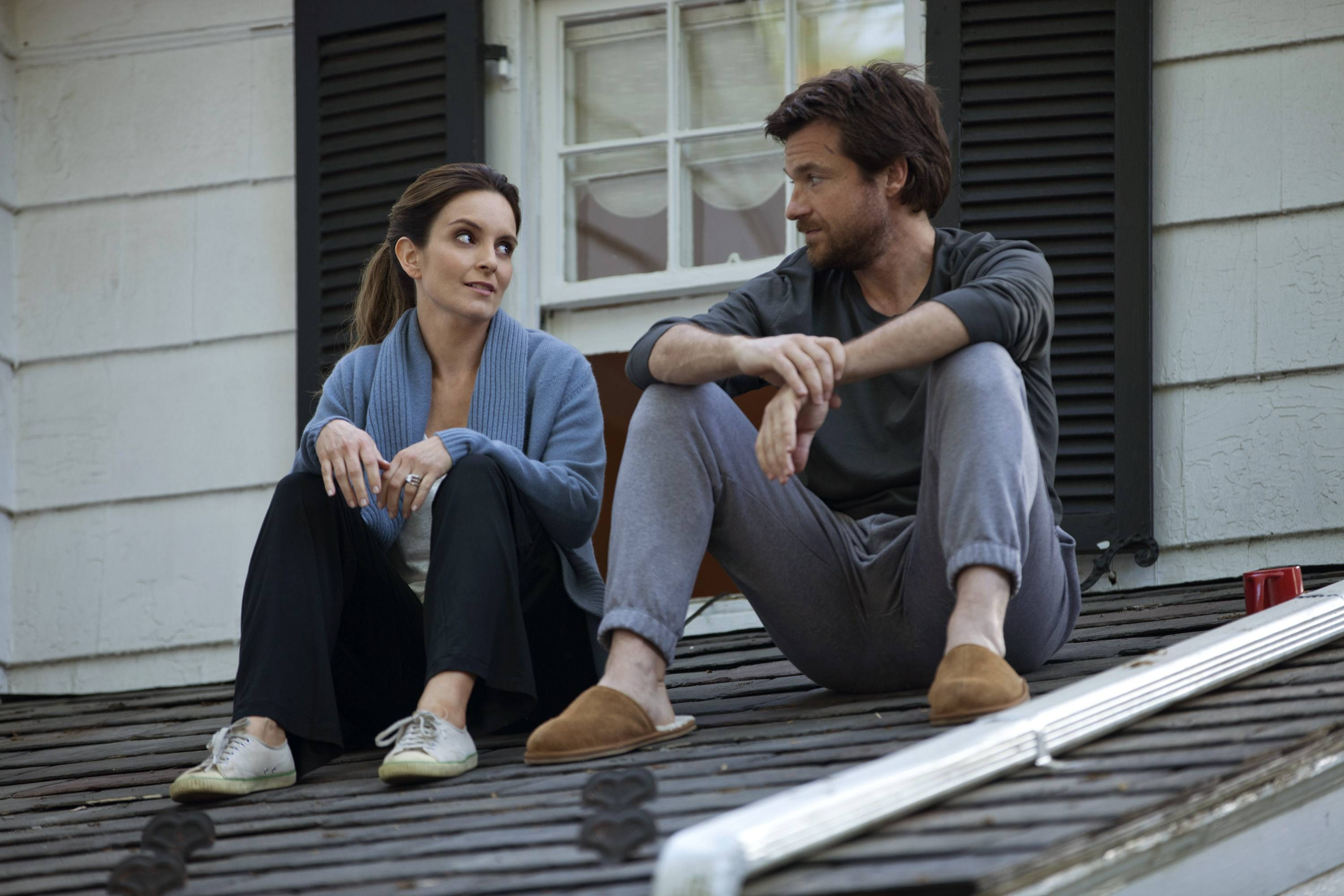 "Tina Fey, left, as Wendy Altman and Jason Bateman as Judd Altman in a scene from the film, ""This Is Where I Leave You."""