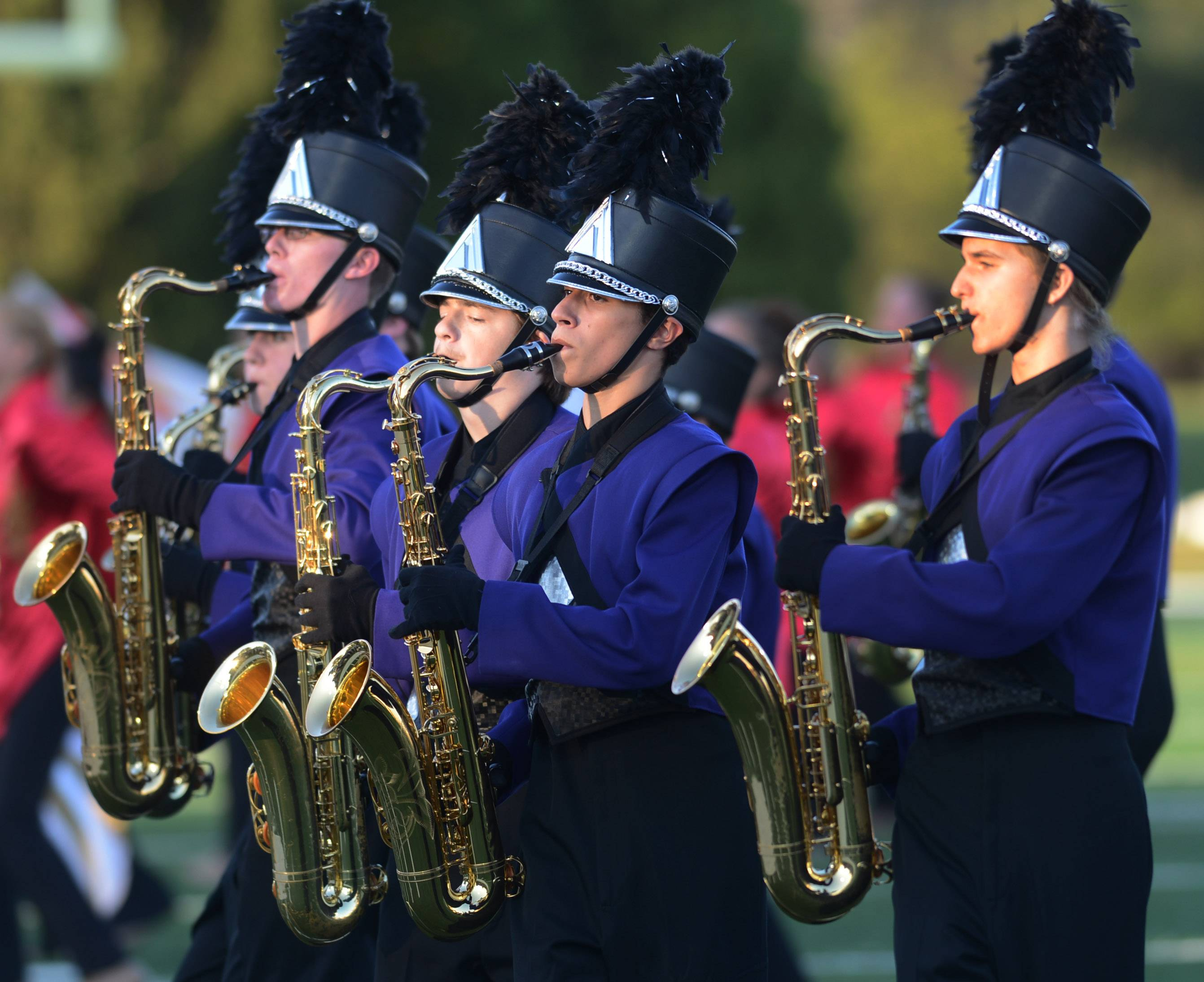 The Rolling Meadows High School Marching Band performs during the 47th annual Chicagoland Marching Band Festival hosted by Wheeling High School Saturday.