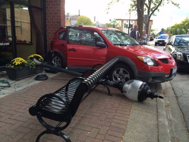 A 68-year-old Wheeling man lost control of his Pontiac Vibe while reversing at a high rate of speed and crashed into a parked car, a lightpole and Adam and Eve Salon and Spa just before 5 p.m. Sunday.