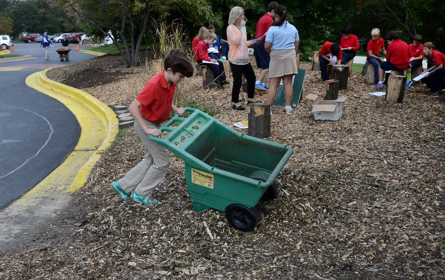 Holy Family School seventh-grader Braden Carroll moves mulch around in the outdoor classroom.