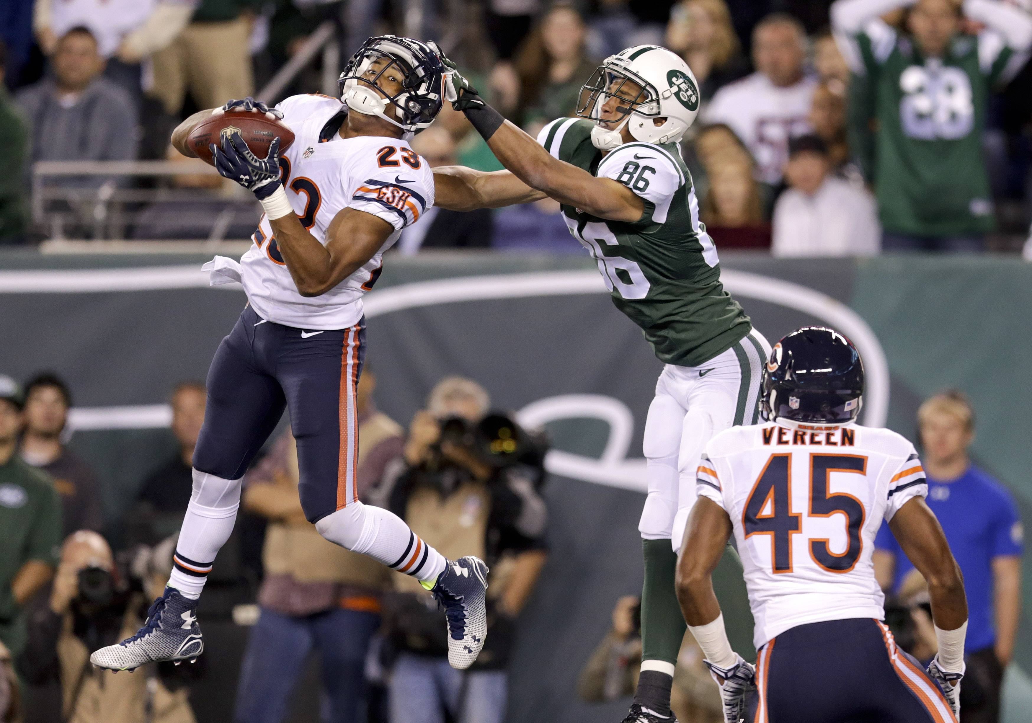 Look who was one of the Bears' stars again! Bears cornerback Kyle Fuller intercepts a pass in the end zone intended for New York Jets wide receiver David Nelson (86) in the third quarter last night in New Jersey.