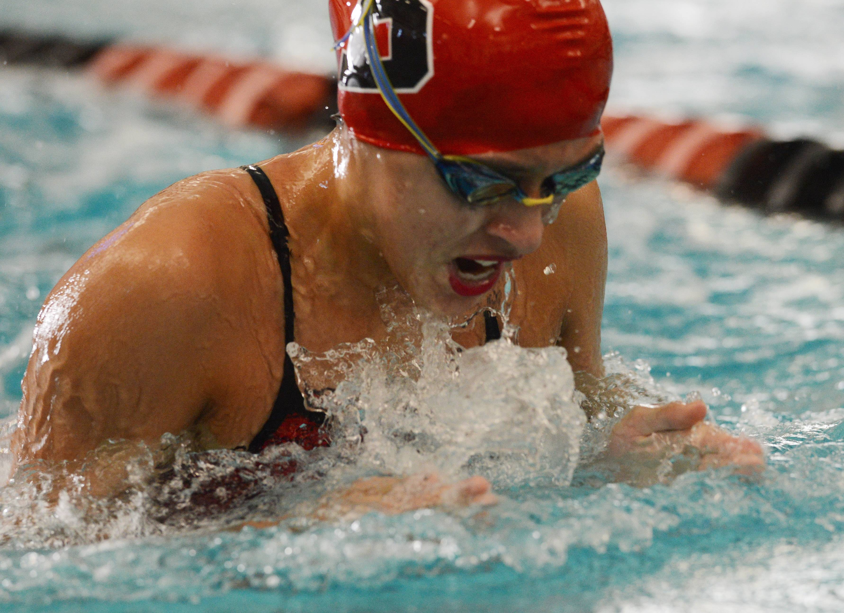 Barrington's Andrea Vega swims the breaststroke portion of the 200-yard medley relay during Wednesday''s girls swimming meet with Fremd.