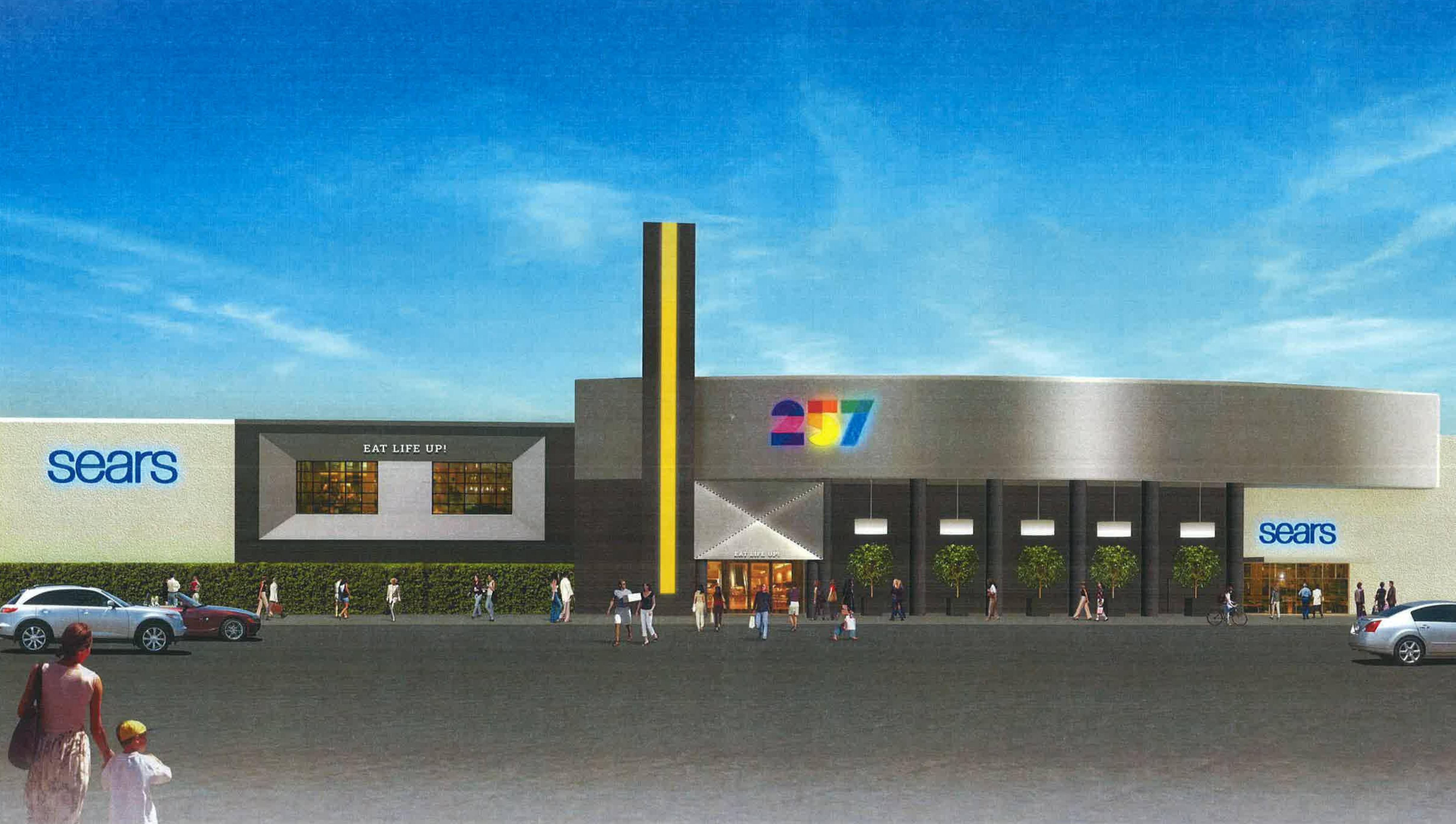 This is a rendering of the facade of Namco Entertainment Inc.'s Level 257 restaurant, planned to open in January 2015 next to Sears at Woodfield Mall in Schaumburg. The eatery will carry a video game theme and feature four bowling lanes.