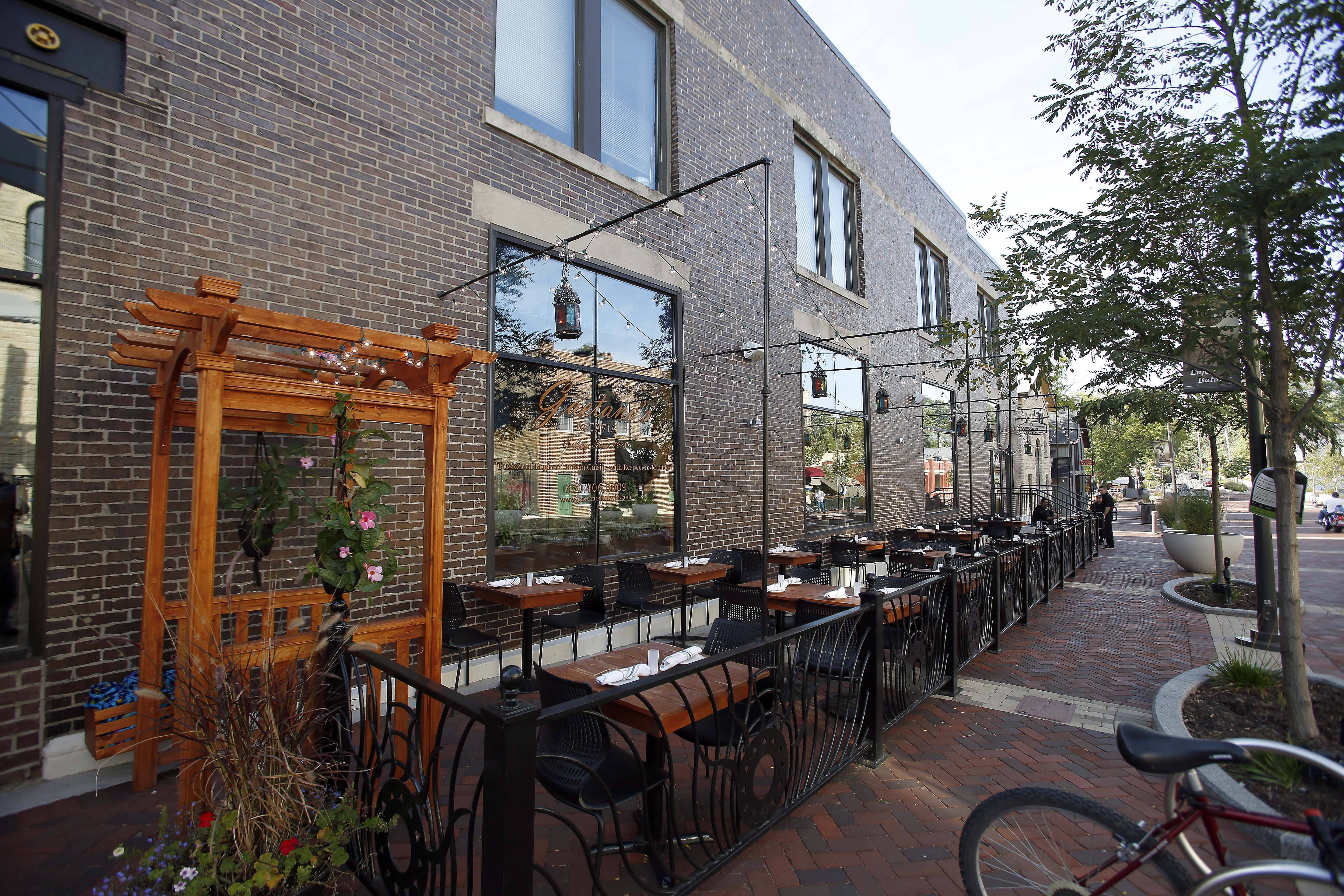 The outdoor patio at Gaetano's allows diners to enjoy the renovated streetscape in downtown Batavia.
