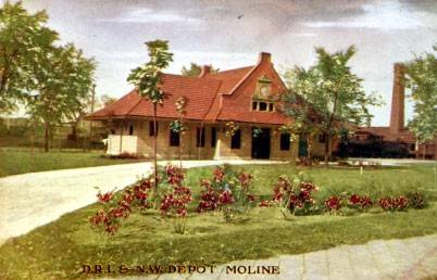 Postcard of Moline's historic train station.