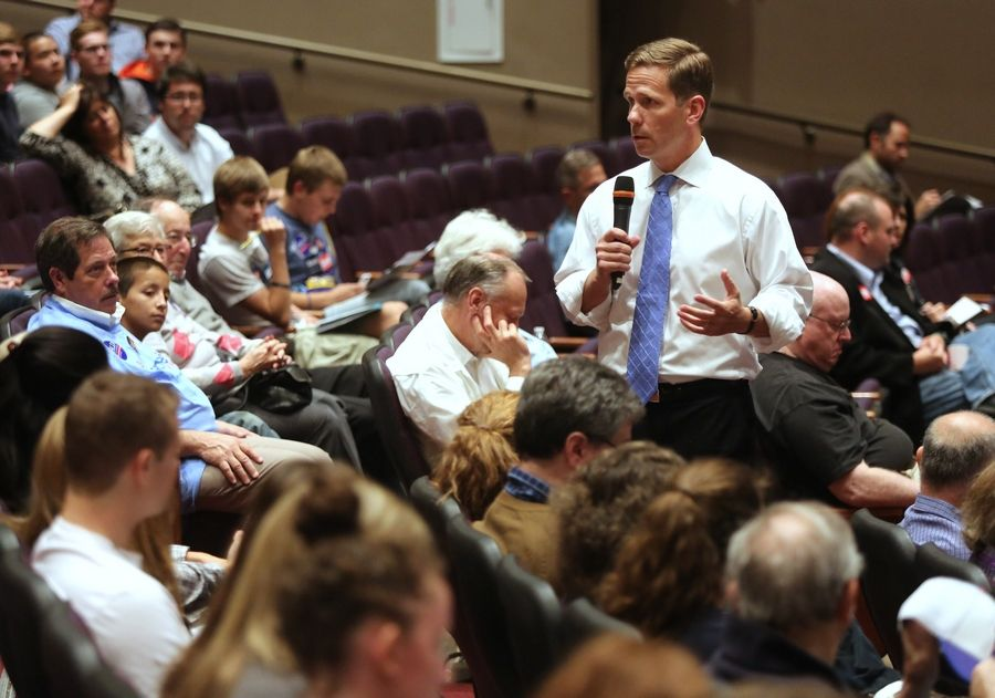 10th House District candidate Robert Dold expresses his views during a forum Tuesday at Stevenson High School in Lincolnshire. The event was sponsored by the school's Political Action Club and the Mikva Challenge.