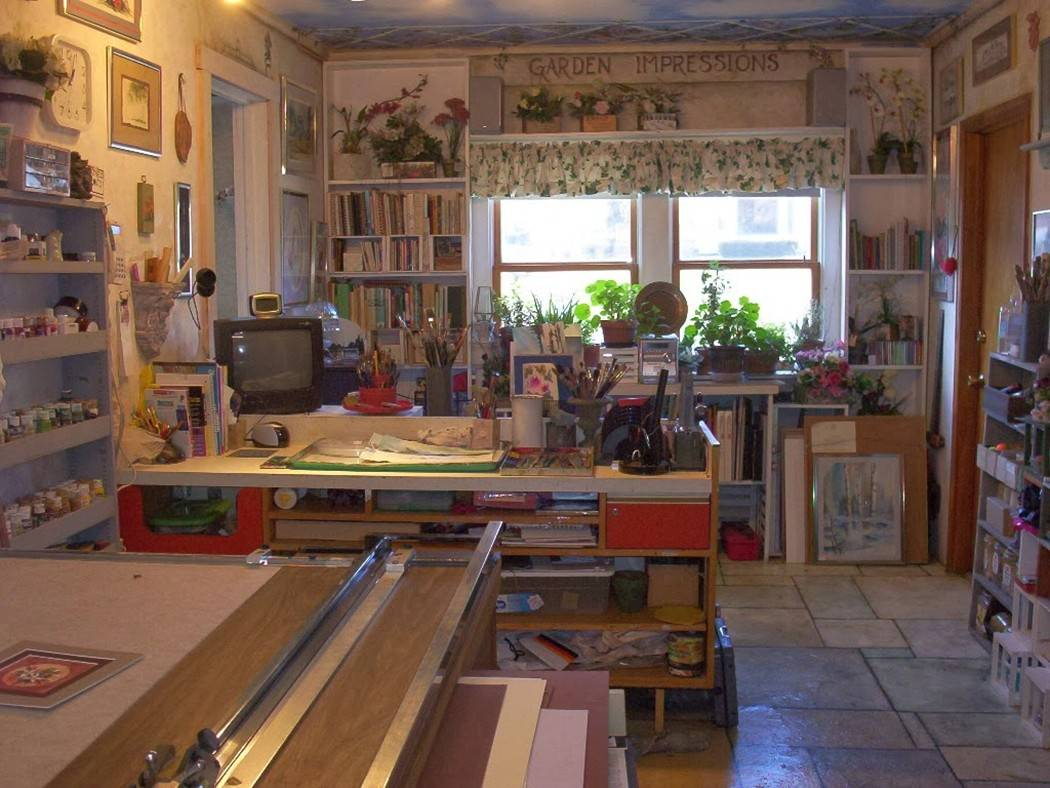 Art guild President Lorraine Ochsner hand painted the cement floor of her studio to resemble stone tiles, and on the ceiling she painted a blue sky. Her studio will be featured on the Art Studio Tour.