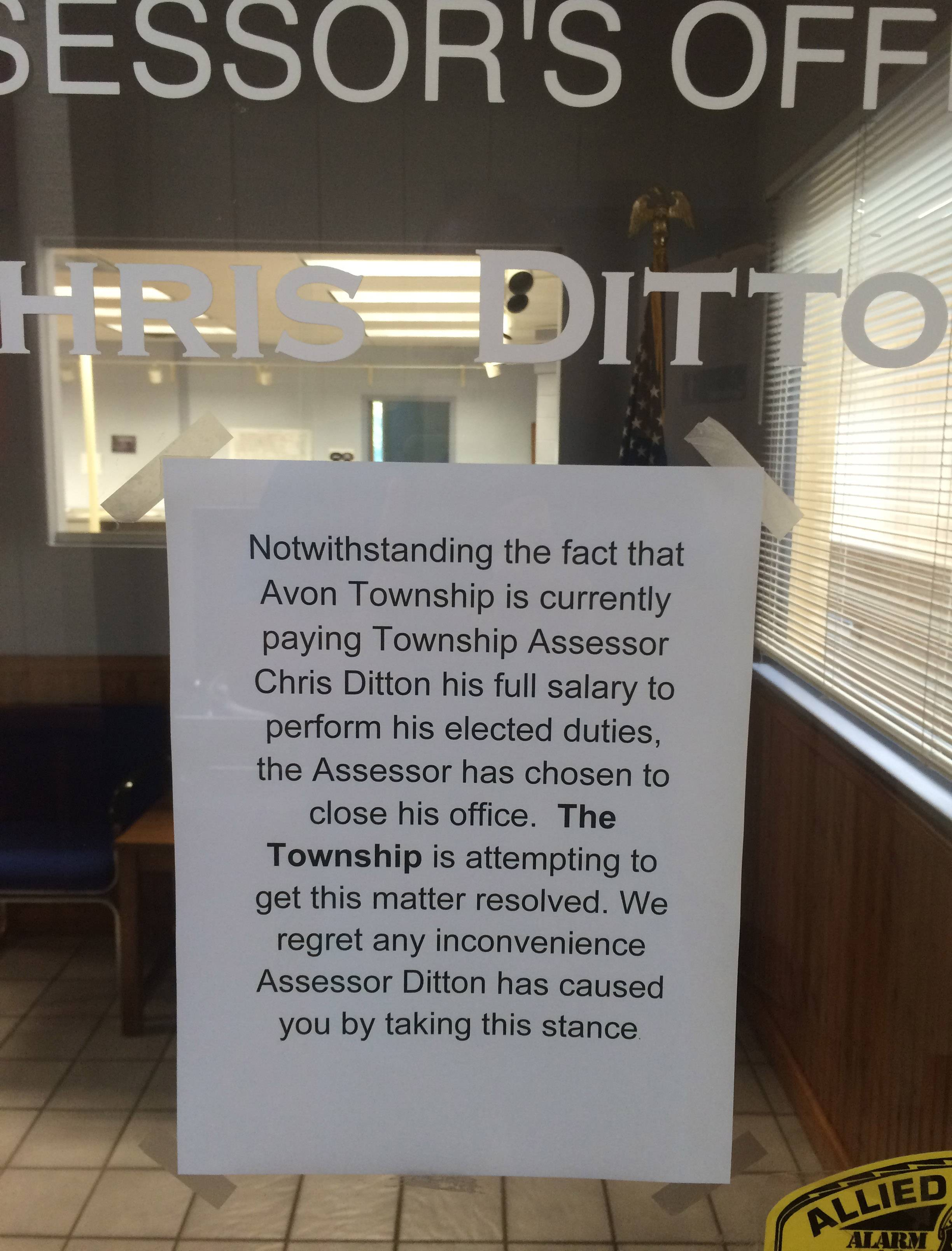A budget dispute has resulted in the closure of the Avon Township assessor's office.