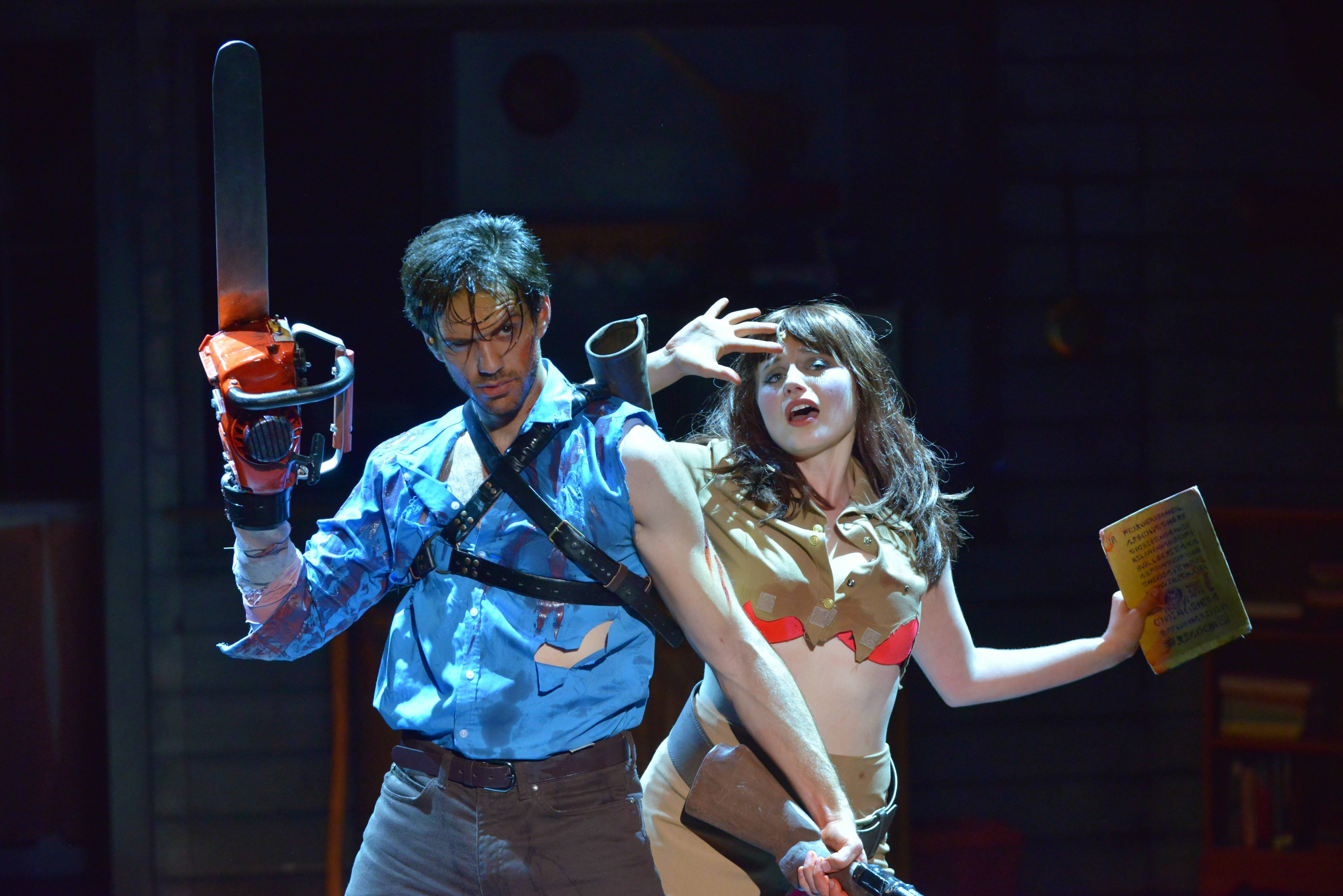 "David Sajewich and Callie Johnson in a scene from ""Evil Dead: The Musical."""