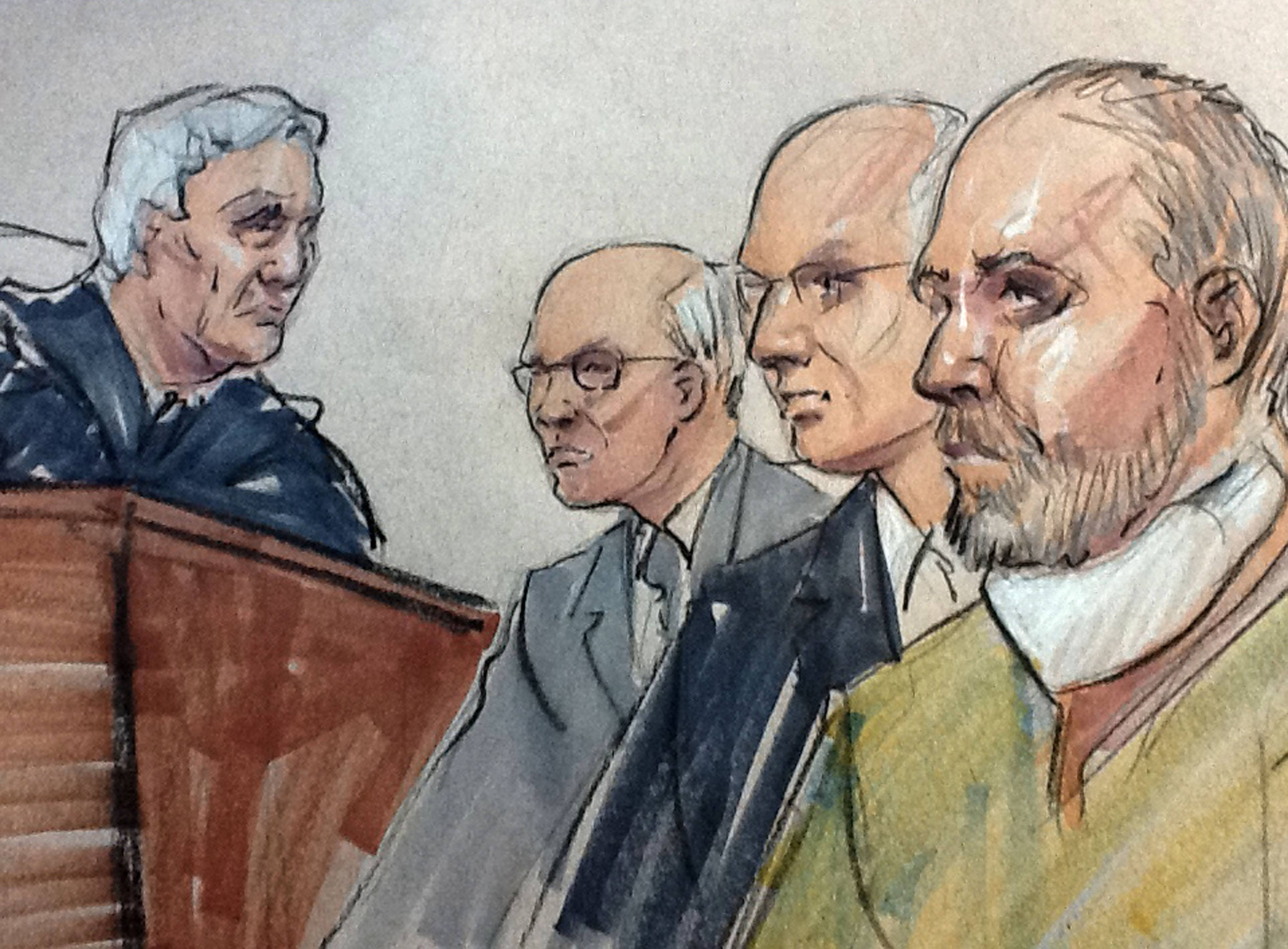 In this courtroom sketch, Brian Howard, right, of Naperville and his attorney, Ron Safer, second right, appear Monday afternoon before federal judge Michael T. Mason along with prosecutor Andrew Polovin.