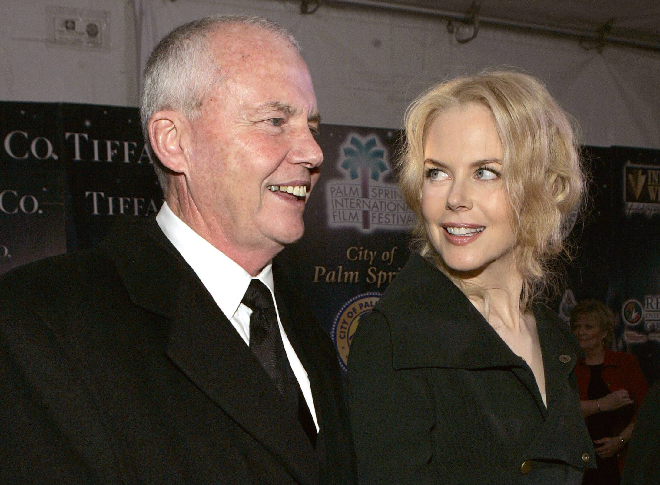Psychologist Anthony Kidman, left, and his daughter, actress Nicole Kidman, arrive at the Palm Springs International Film Festival in Palm Springs, Calif. Actress Nicole Kidman on Tuesday broke her public silence since the death of her father more than two weeks ago by sharing her heartbreak and thanking well-wishers for their comforting thoughts and prayers.