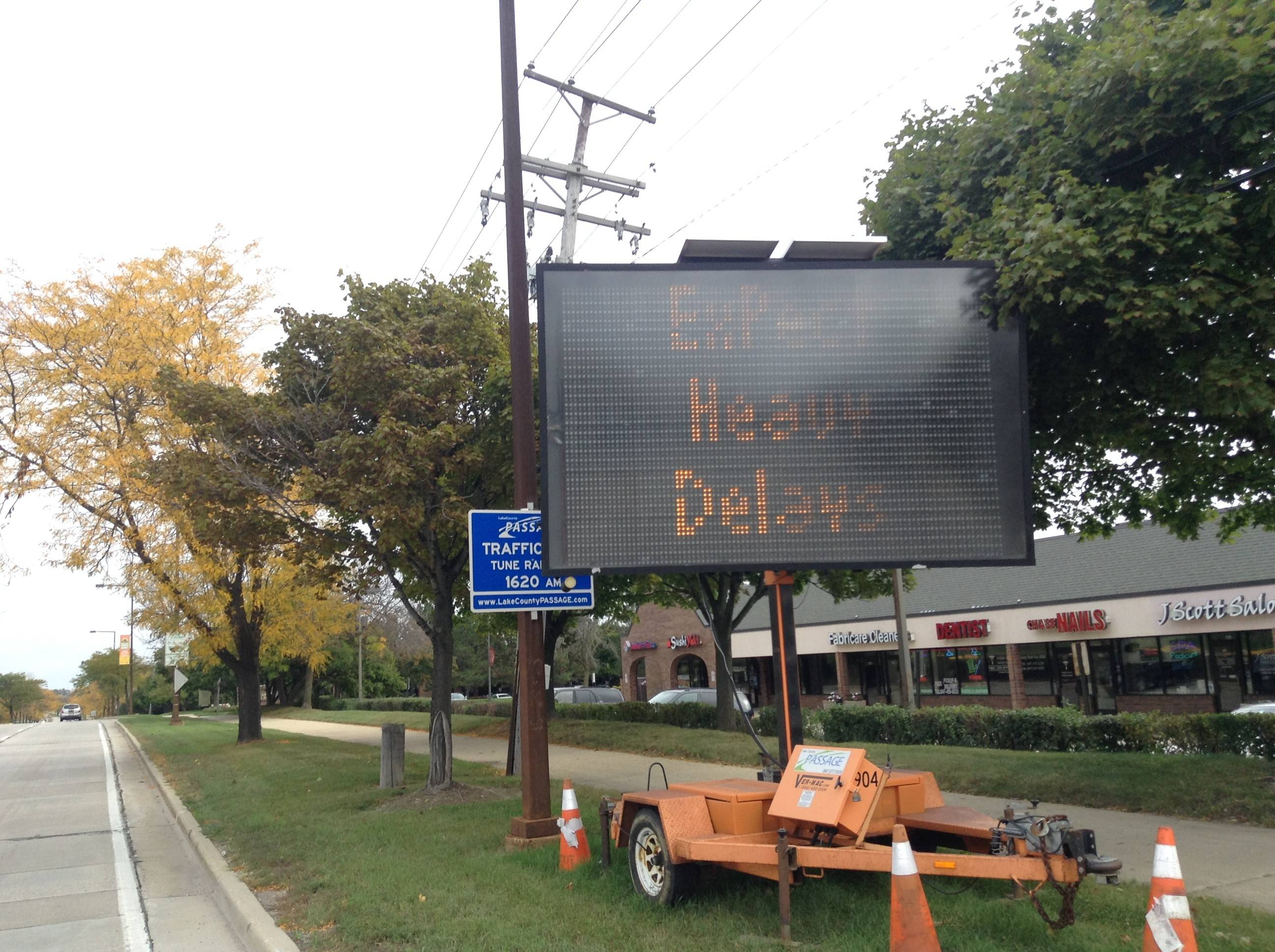 This message board alerts drivers to construction set to begin Wednesday on Arlington Heights Road from Lake-Cook Road to Route 83 in Buffalo Grove. More construction is slated for Thursday a few miles west on Rand Road at Lake-Cook Road in the Kildeer area to Ela Road in Lake Zurich.