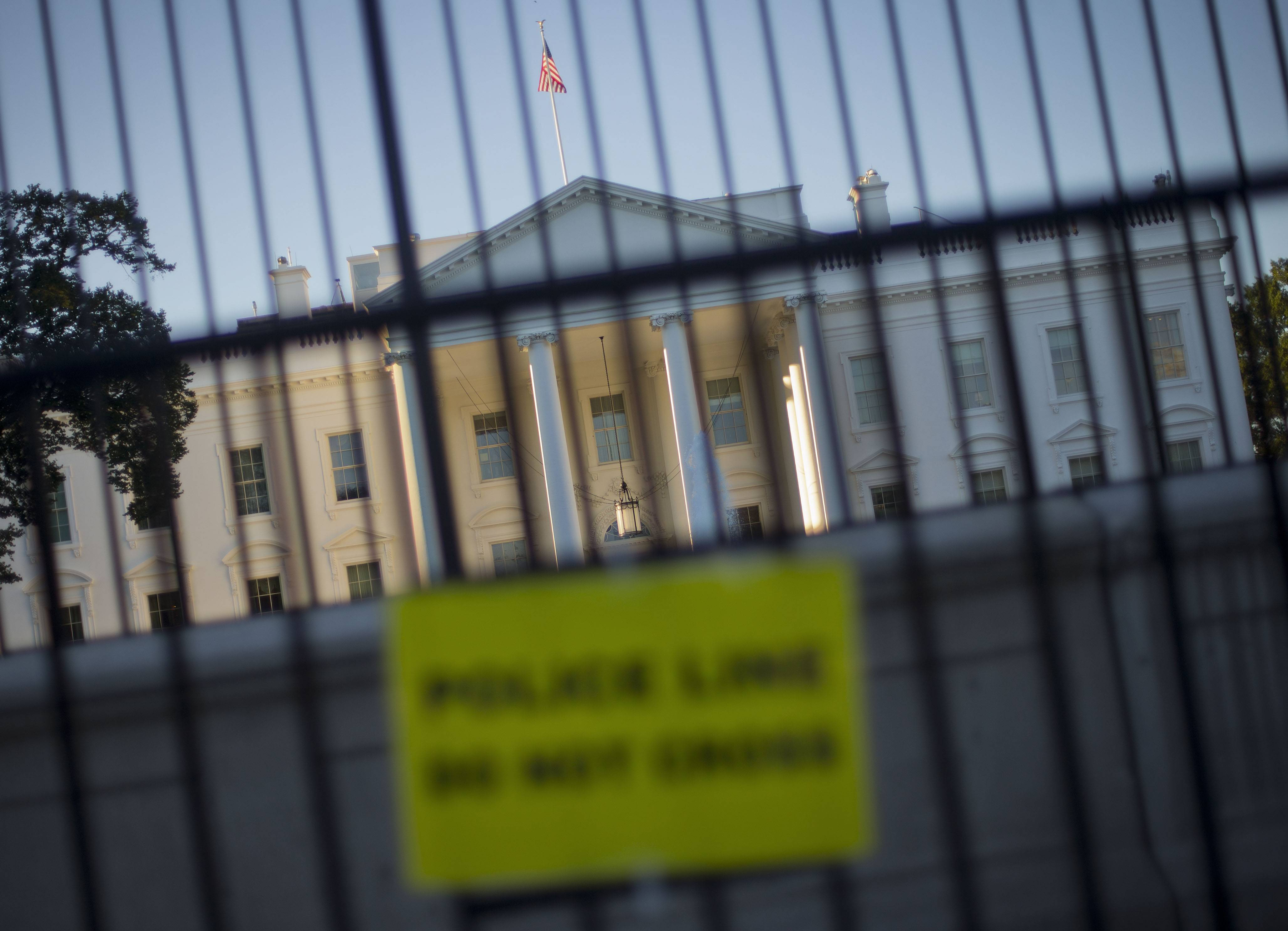 The perimeter fence sits in front of the White House fence on the North Lawn along Pennsylvania Avenue in Washington.