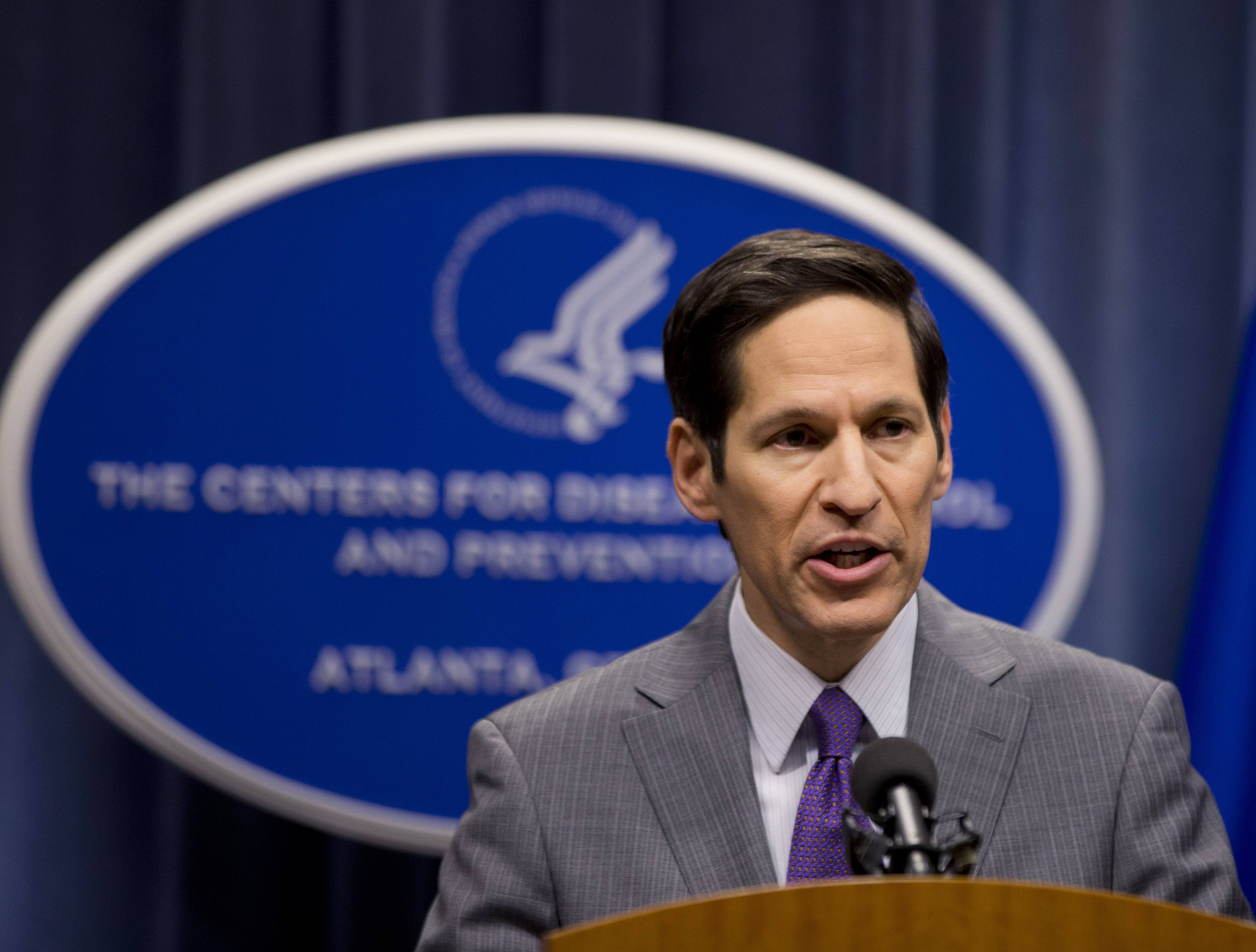 Director of Centers for Disease Control and Prevention Dr. Tom Frieden speaks during a news conference after confirming that a patient at Texas Health Presbyterian Hospital has tested positive for Ebola, the first case of the disease to be diagnosed in the United States, announced Tuesday in Atlanta. The person, an adult who was not publicly identified, developed symptoms days after returning to Texas from Liberia and showed no symptoms on the plane, according to the Centers for Disease Control and Prevention.