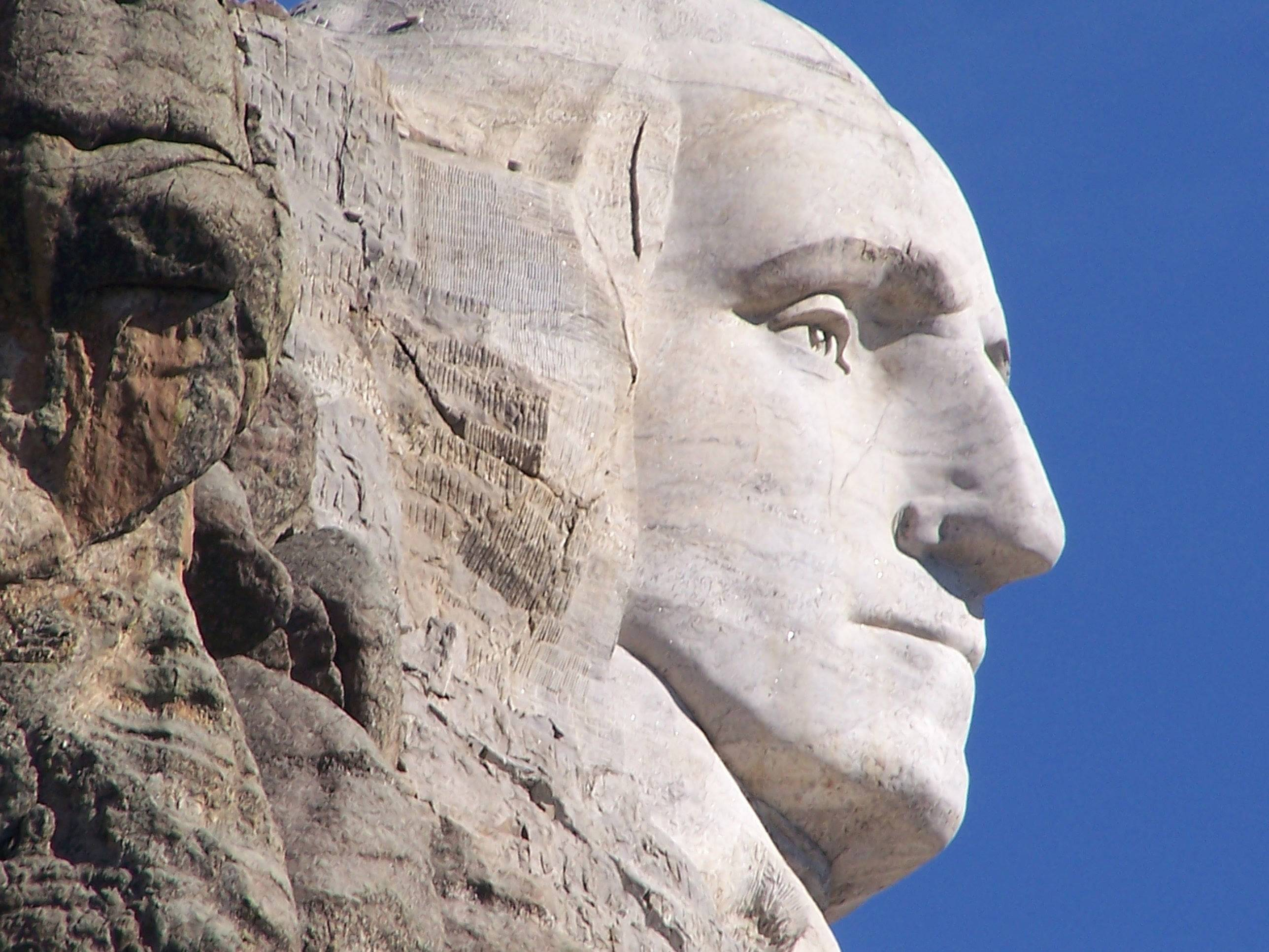 A profile picture of George Washington at Mount Rushmore Monument in 2006.