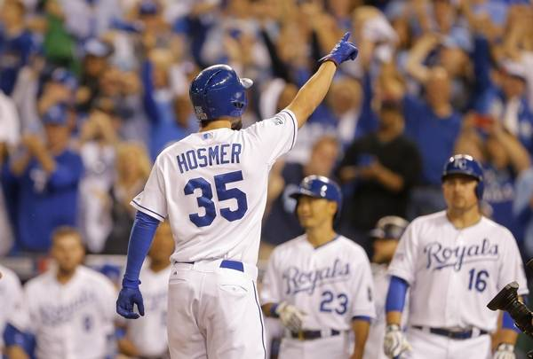 Kansas City Royals First Baseman Eric Hosmer 35 Celebrates His Two Run Home