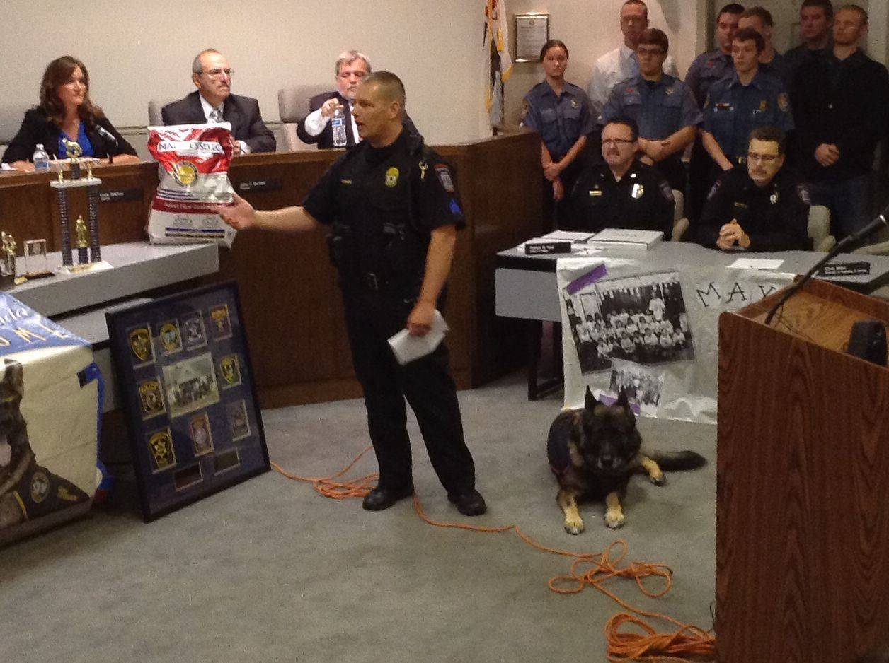 Wauconda's retiring police dog honored for decade of service