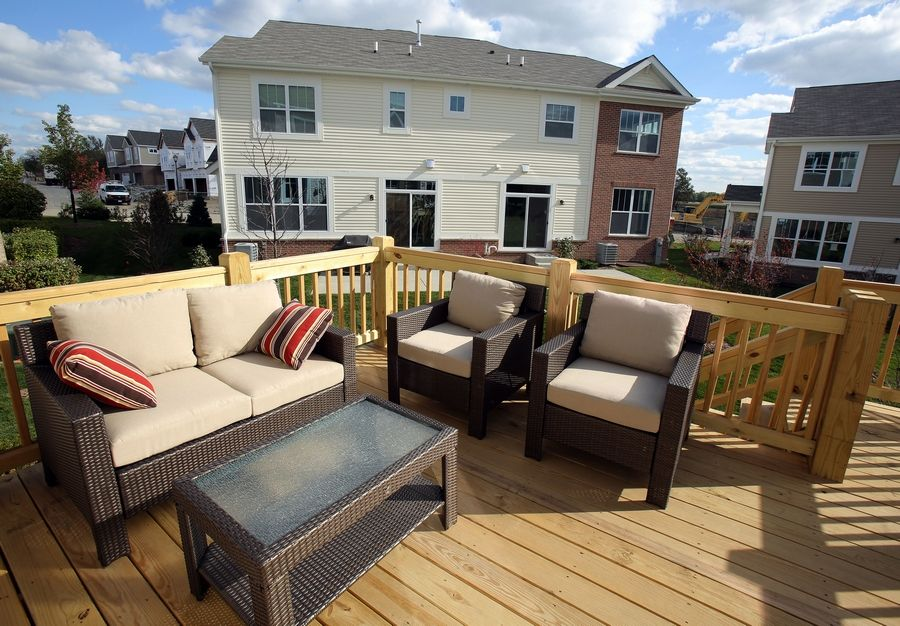 The spacious deck is where residents can enjoy the outdoors and scenic location of Lexington Hills.