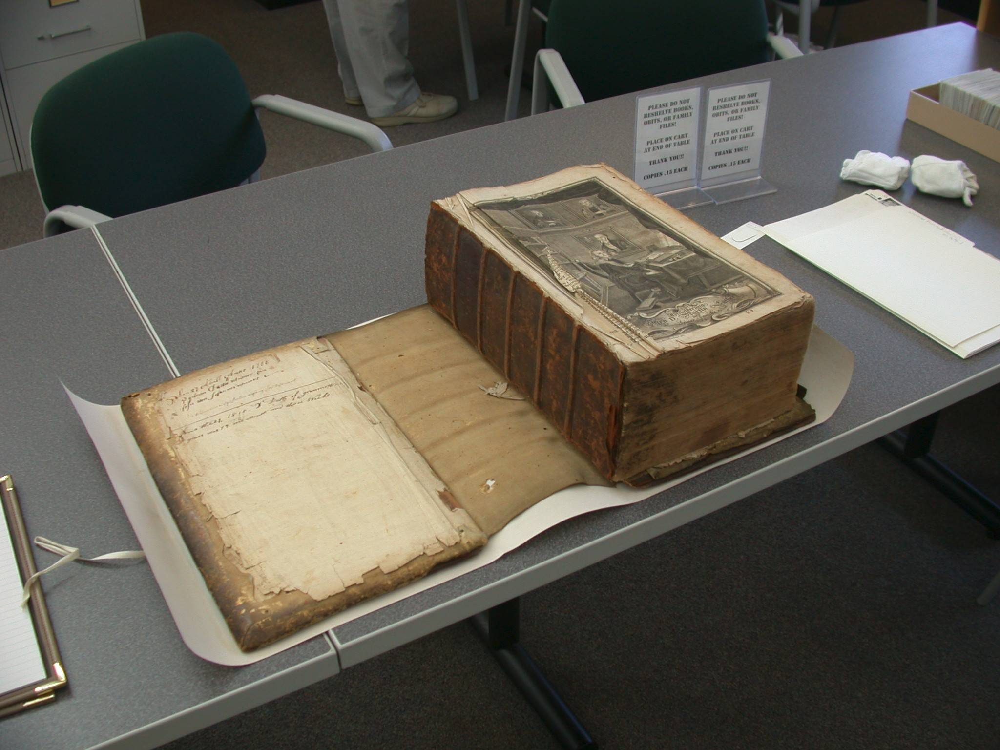Carefully preserved by the Somerset (Pennsylvania) County Historical Society, this 1765 Martin Luther German family Bible of Dan Wertz's great-great-great grandmother, Sarah Weimer, contained the names and birth dates of relatives dating to 1840.