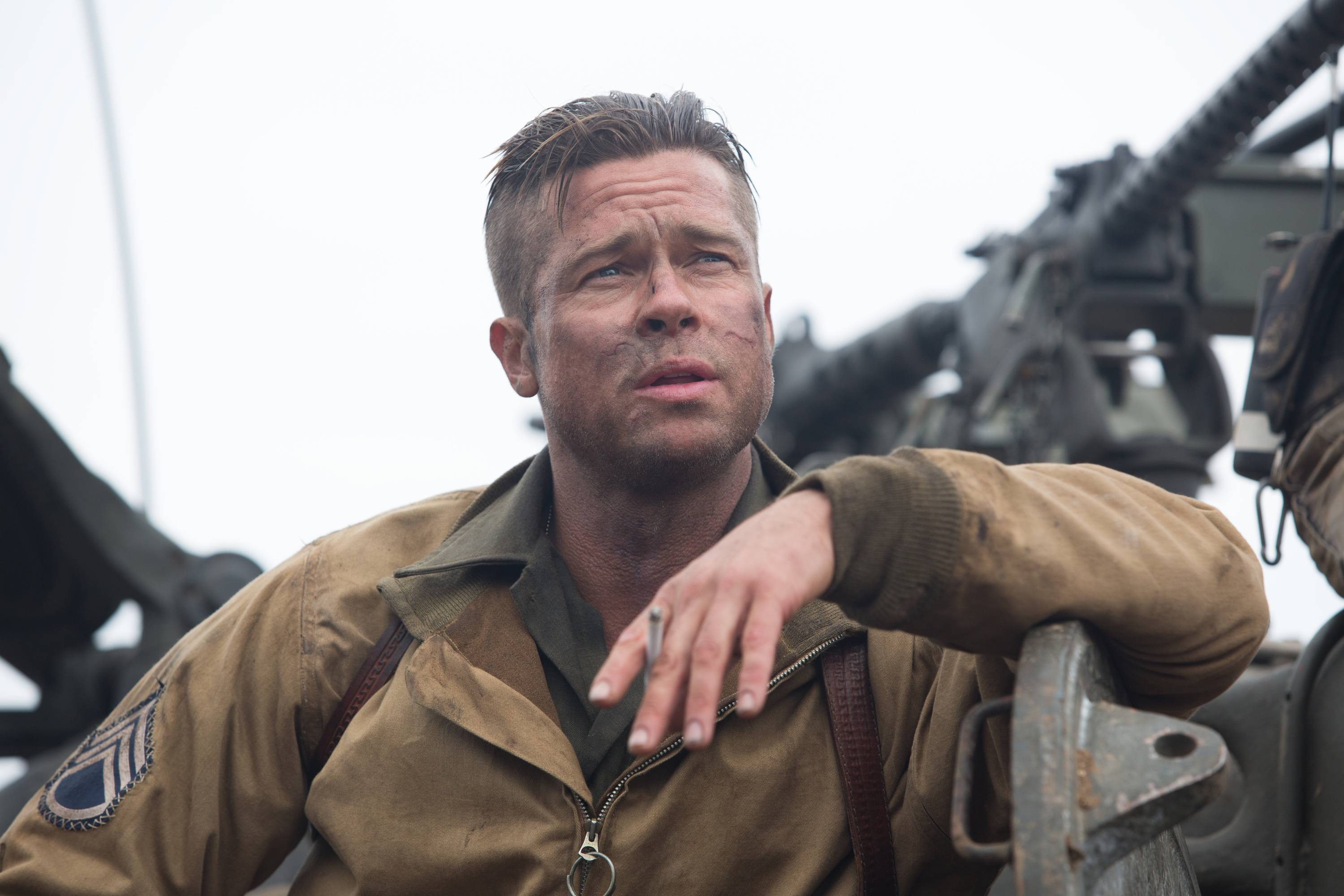 "Sgt. Don Collier (Brad Pitt) and his M4 Sherman tank roll into Germany in the waning days of World War II in ""Fury."""
