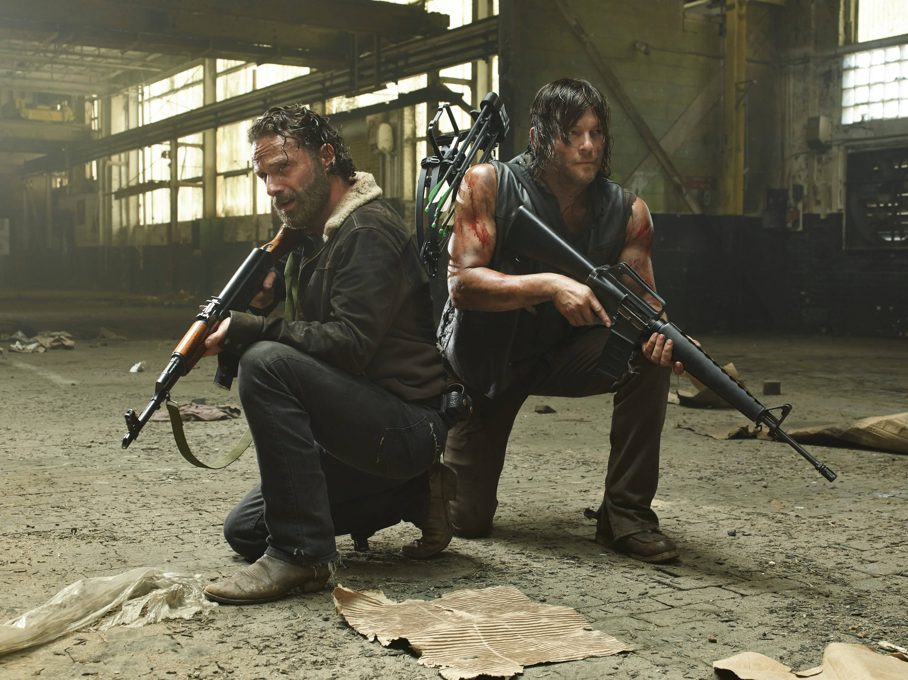 "Rick Grimes (Andrew Lincoln) and Daryl Dixon (Norman Reedus) are back to their zombie-killing ways on ""The Walking Dead."""