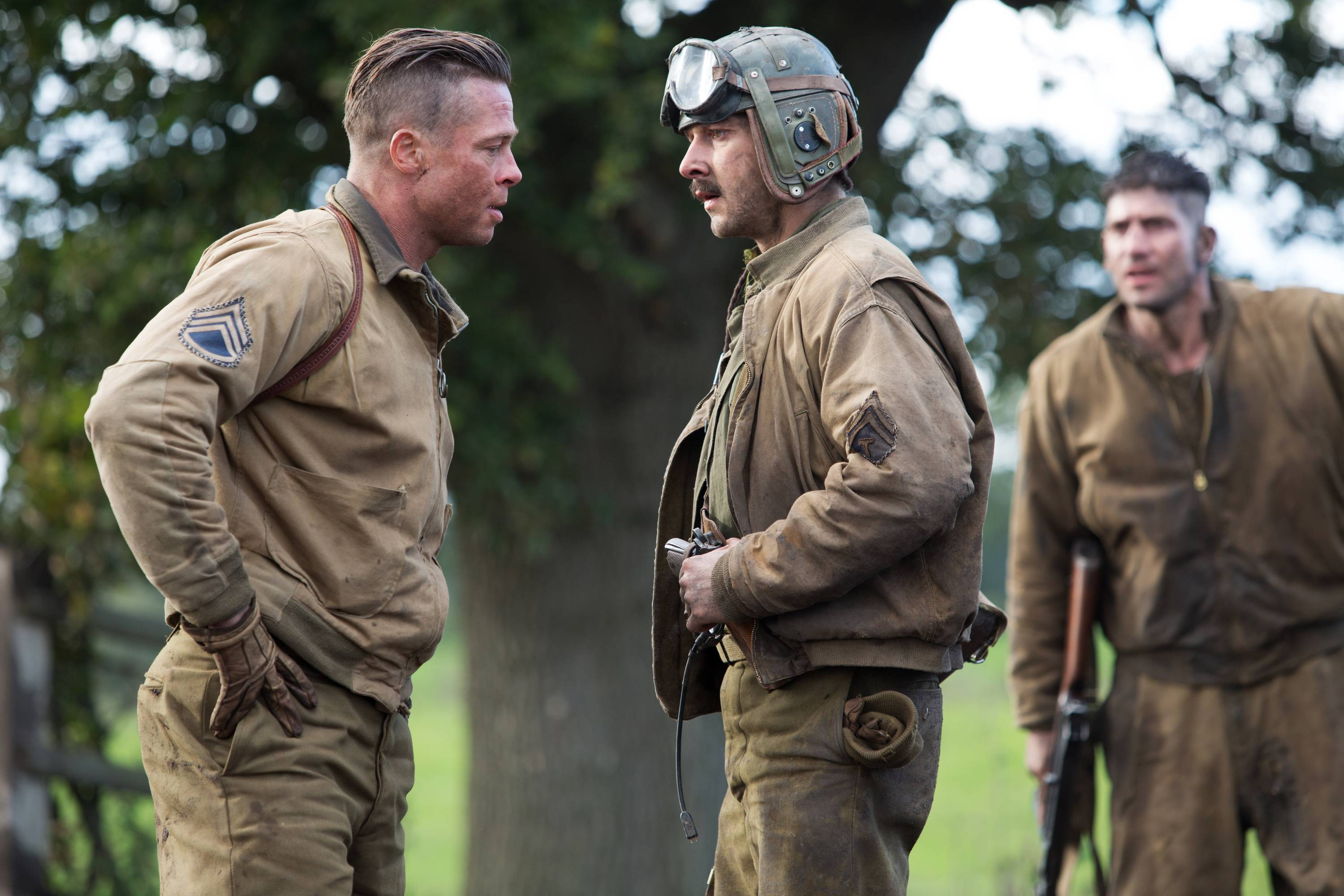 "Wardaddy (Brad Pitt), left, and Boyd ""Bible"" Swan (Shia LaBeouf) face off in ""Fury."""