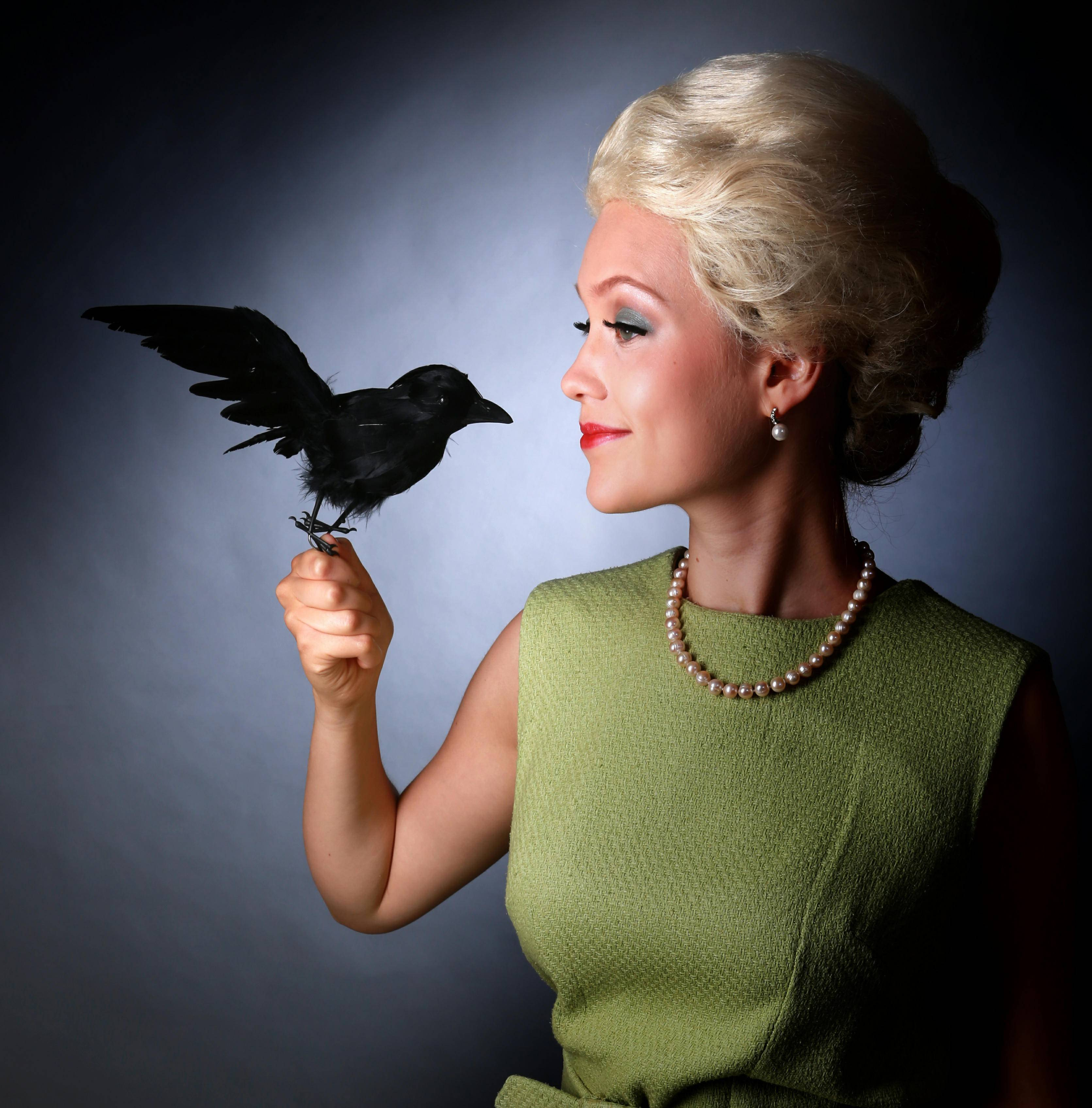 "Catherine McCafferty plays Tippi Hedren in Hell in a Handbag Productions' comic revival of ""The Birds"" at The Coach House at Berger Park in Chicago through Sunday, Nov. 1."